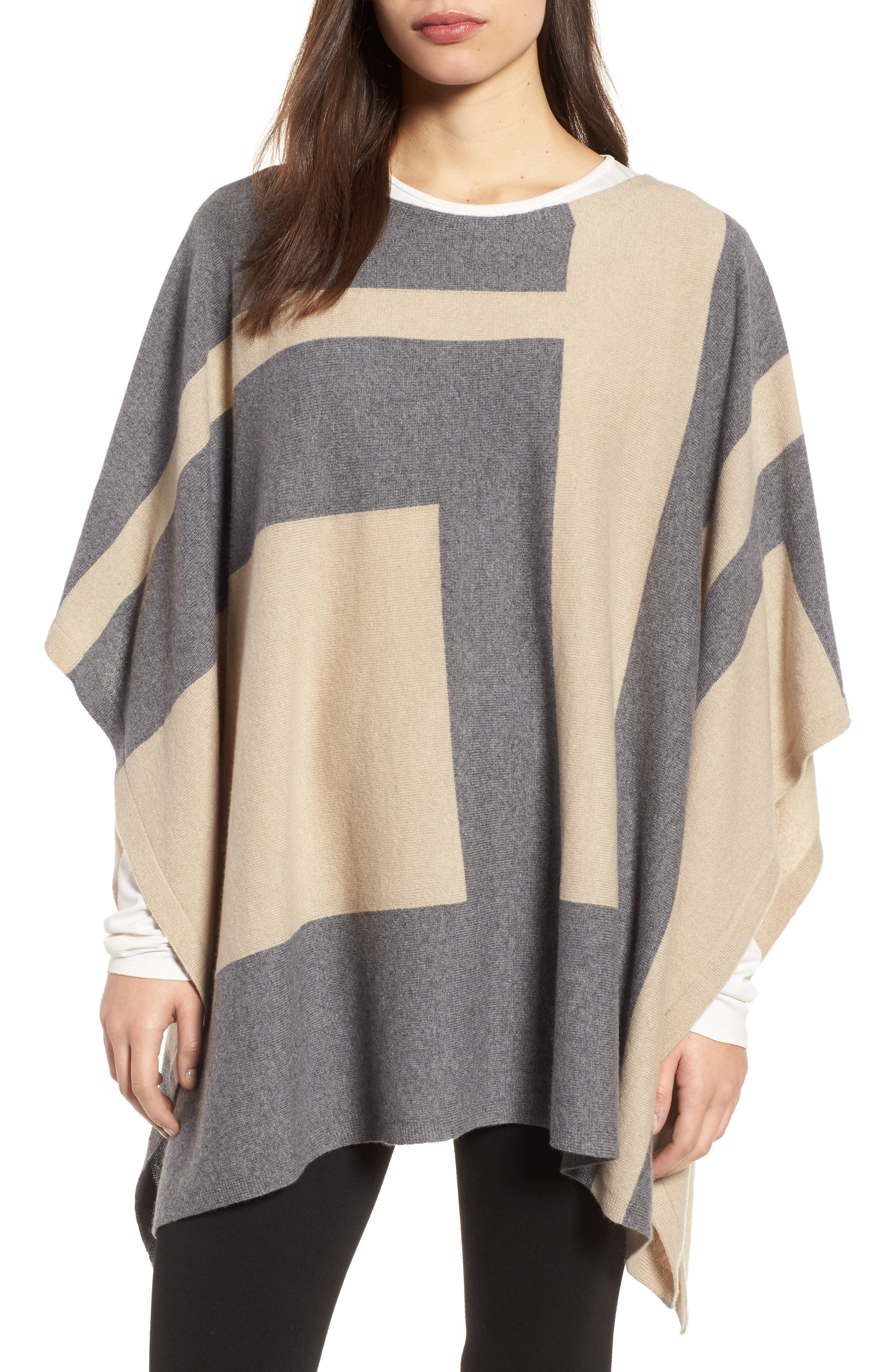 Main Image - Eileen Fisher Colorblock Cashmere Blend Poncho