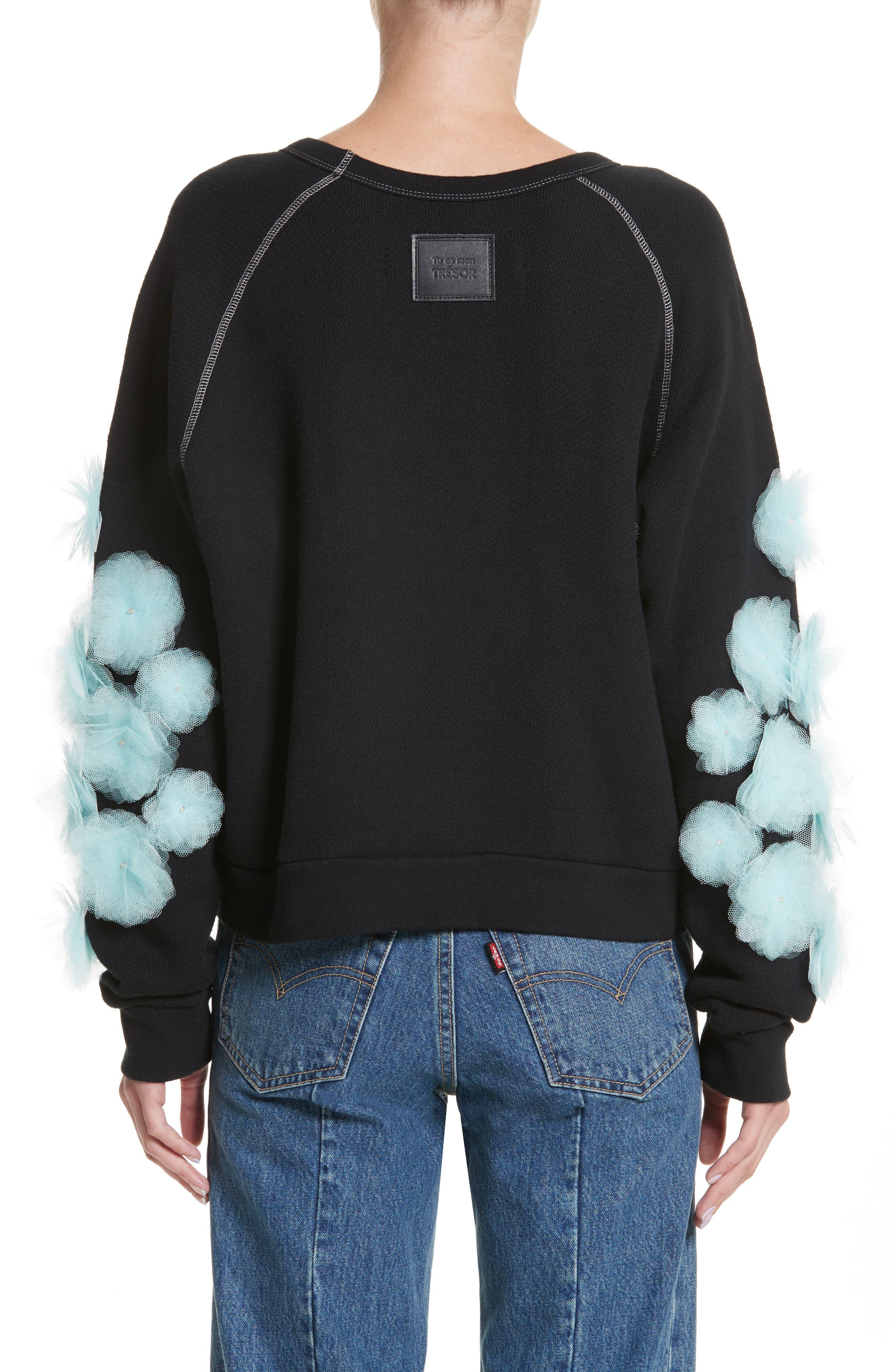 Tu es mon TRESOR Tulle Flower Sweatshirt,                             Alternate thumbnail 2, color,                             Black/ Mint Bkmi