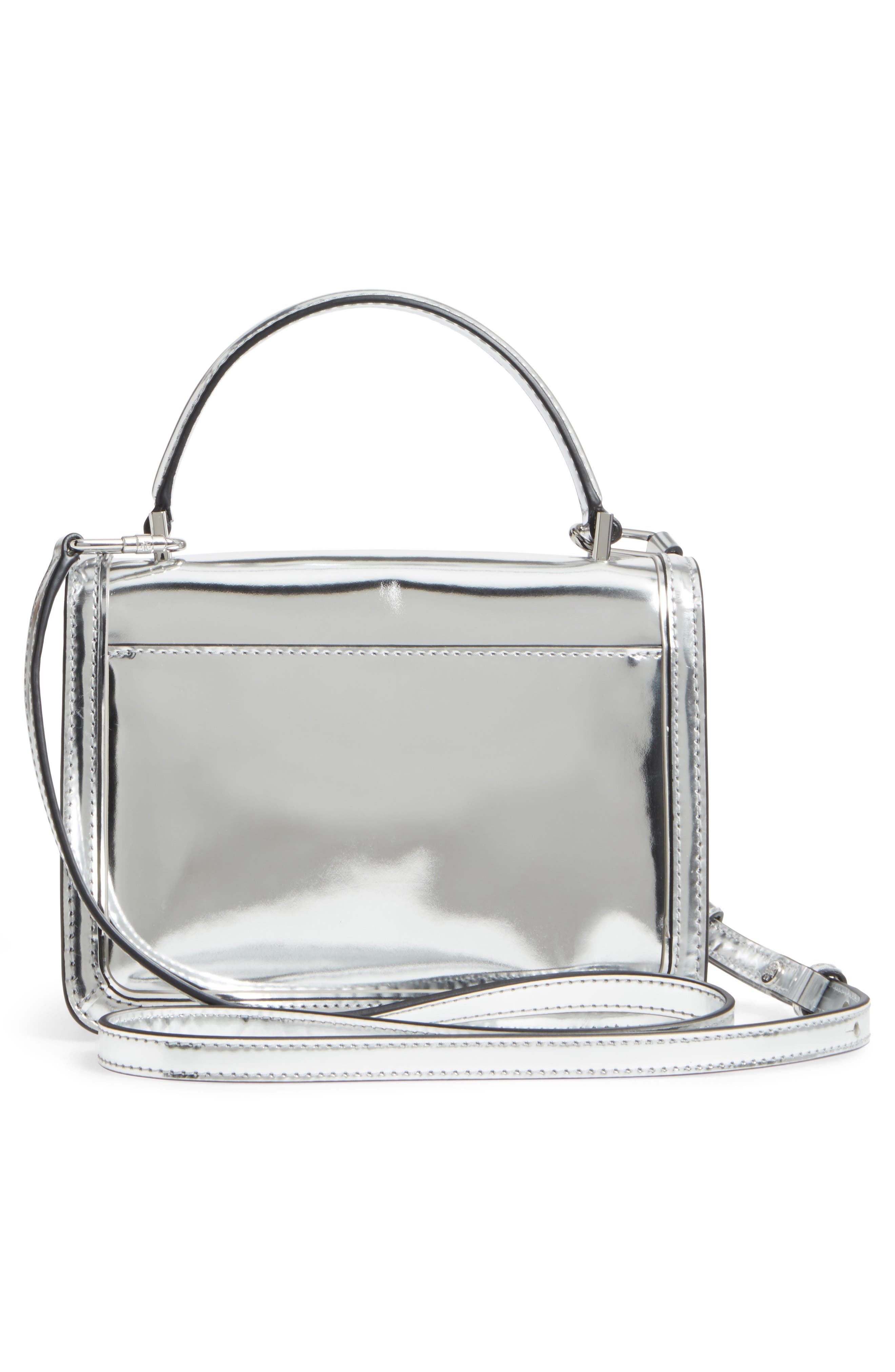 Mini Juliette Metallic Leather Top Handle Satchel,                             Alternate thumbnail 3, color,                             Silver