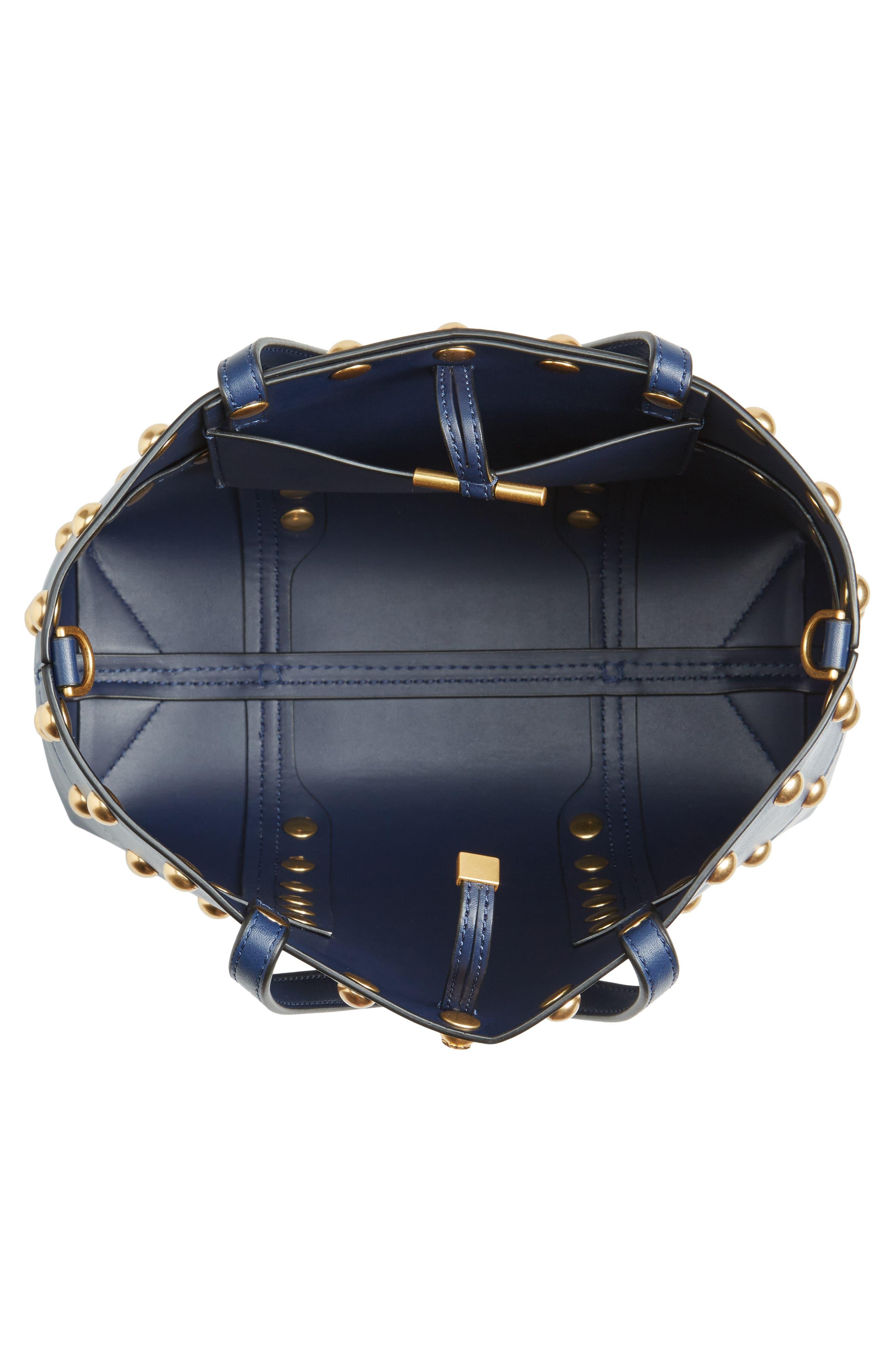 Block-T Mini Studded Leather Tote,                             Alternate thumbnail 4, color,                             Royal Navy