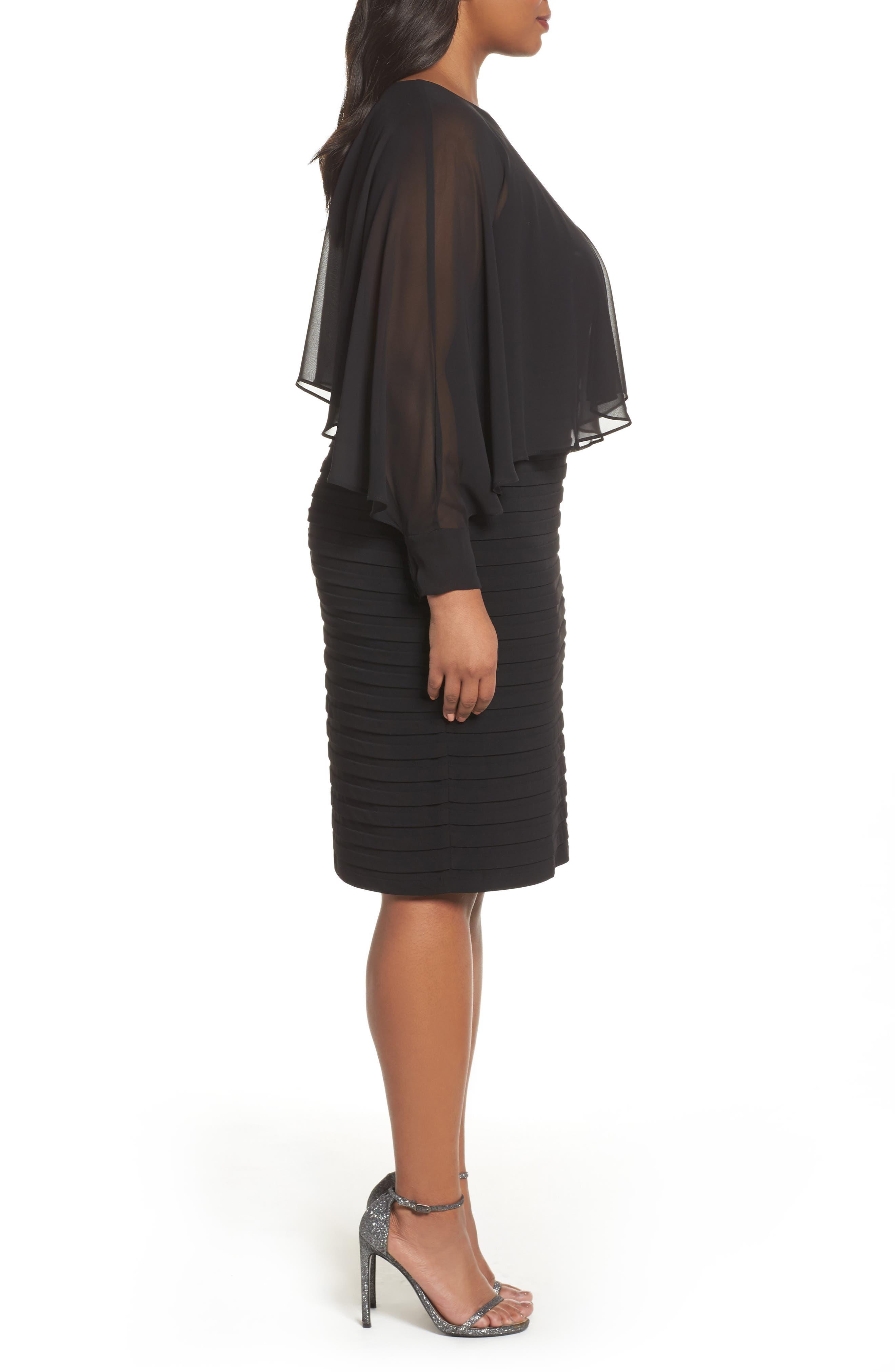 Matte Jersey Shutter Pleat Dress,                             Alternate thumbnail 3, color,                             Black