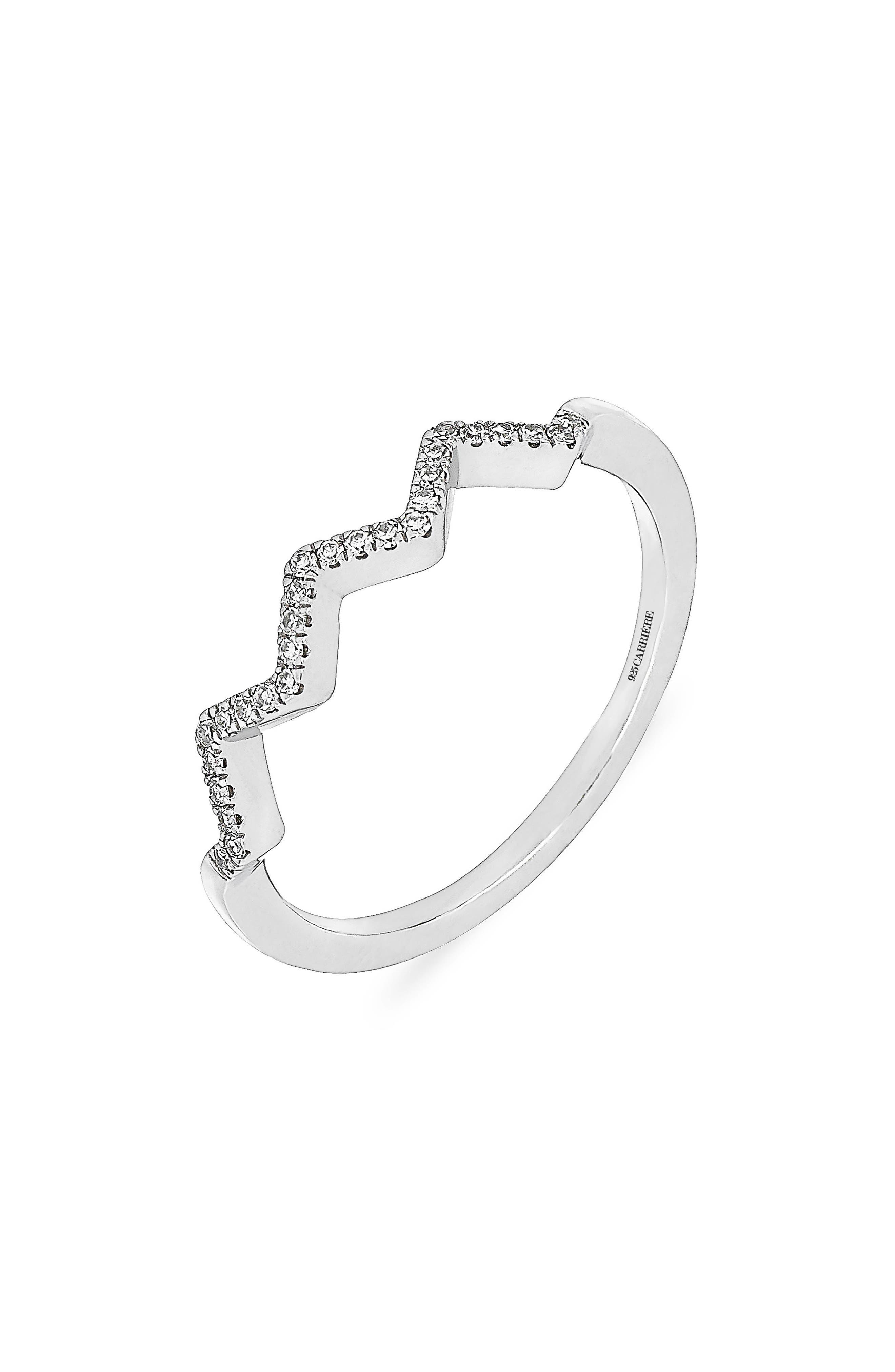 Carrière Zigzag Diamond Ring,                         Main,                         color, Silver/ Diamond