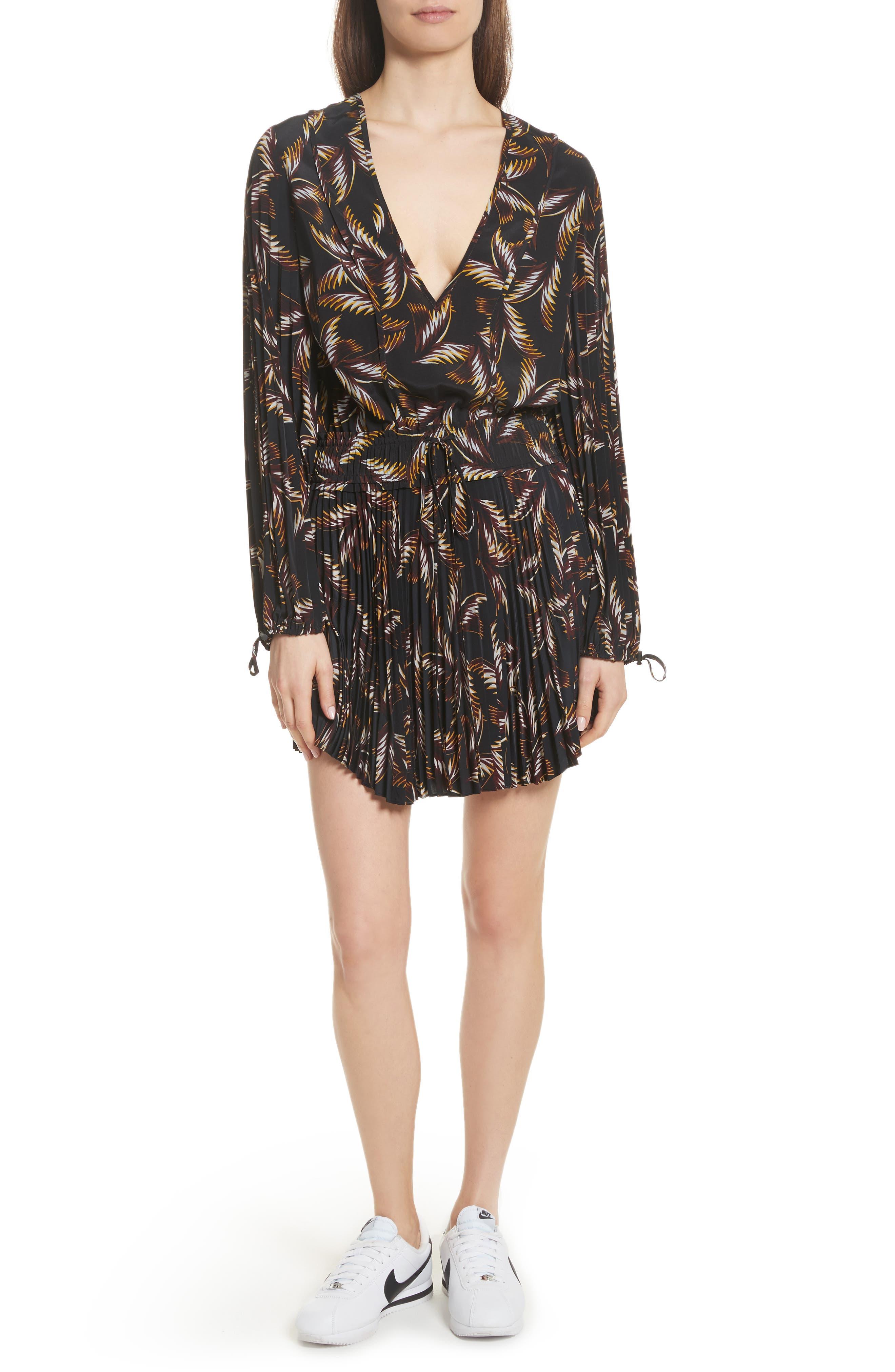 Rory Pleated Silk Dress,                         Main,                         color, Black
