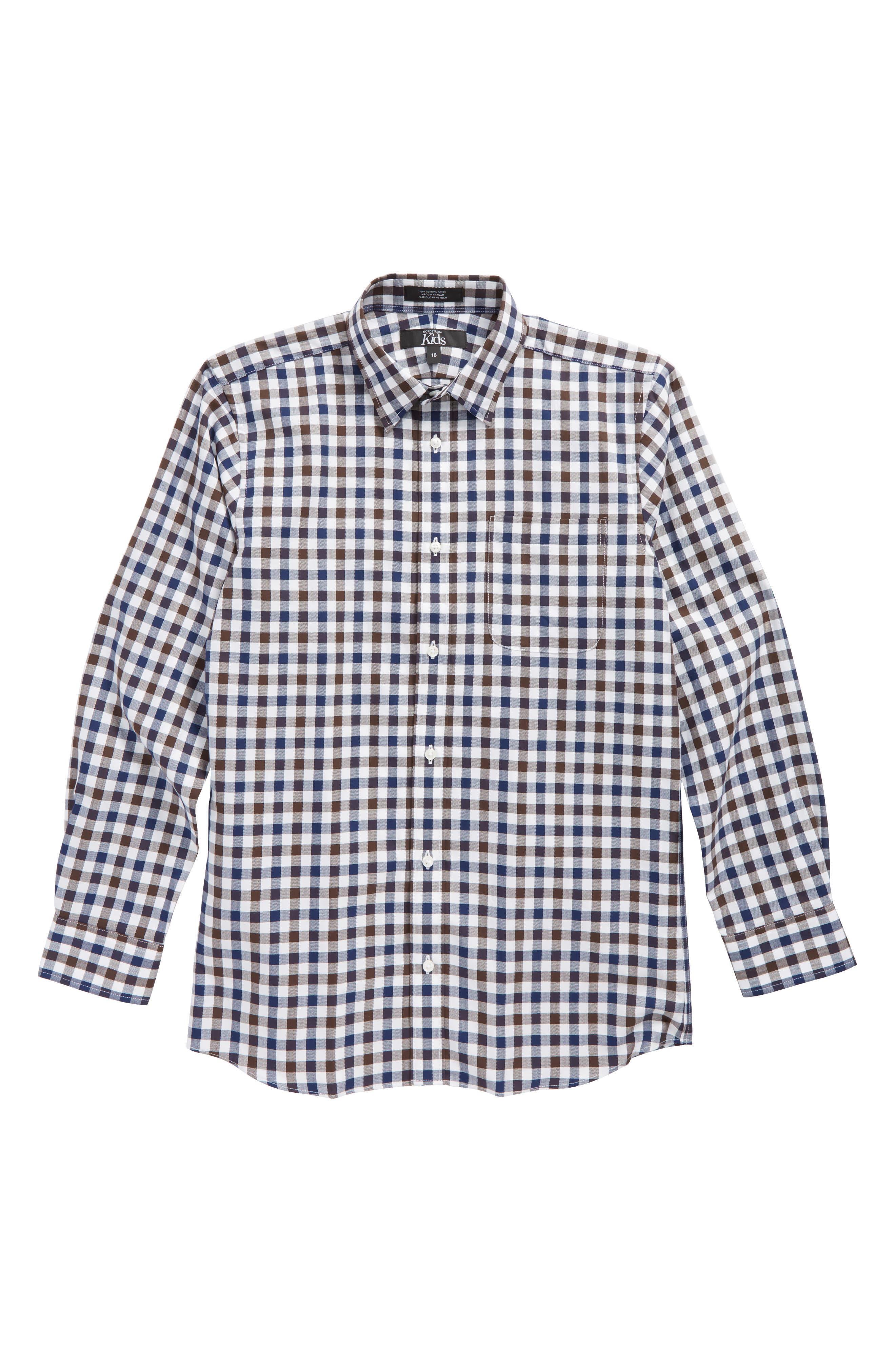 Gingham Sport Shirt,                         Main,                         color, Brown Cocoa