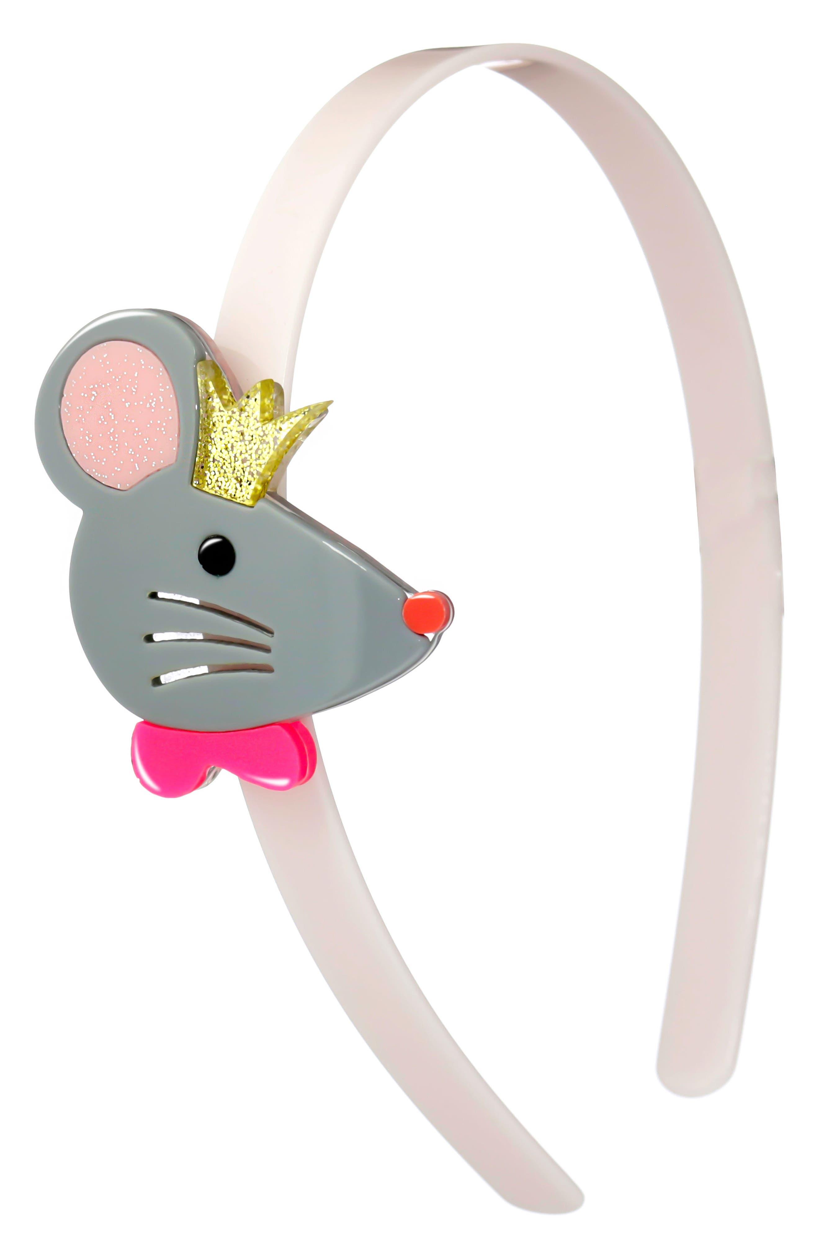 Lilies & Roses NY Cinderella Mice Headband,                         Main,                         color, Grey/ Light Pink