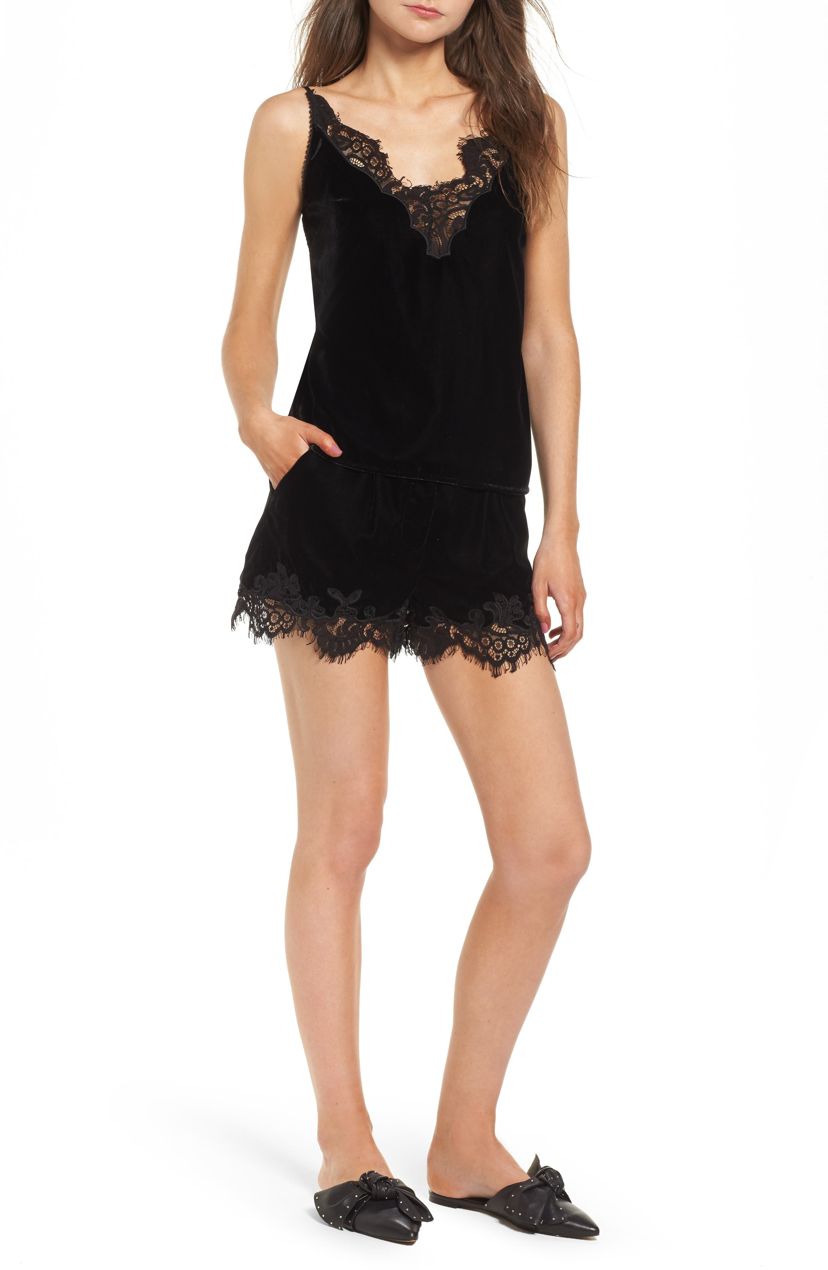 Amelia Lace & Velvet Shorts,                             Alternate thumbnail 6, color,                             Black