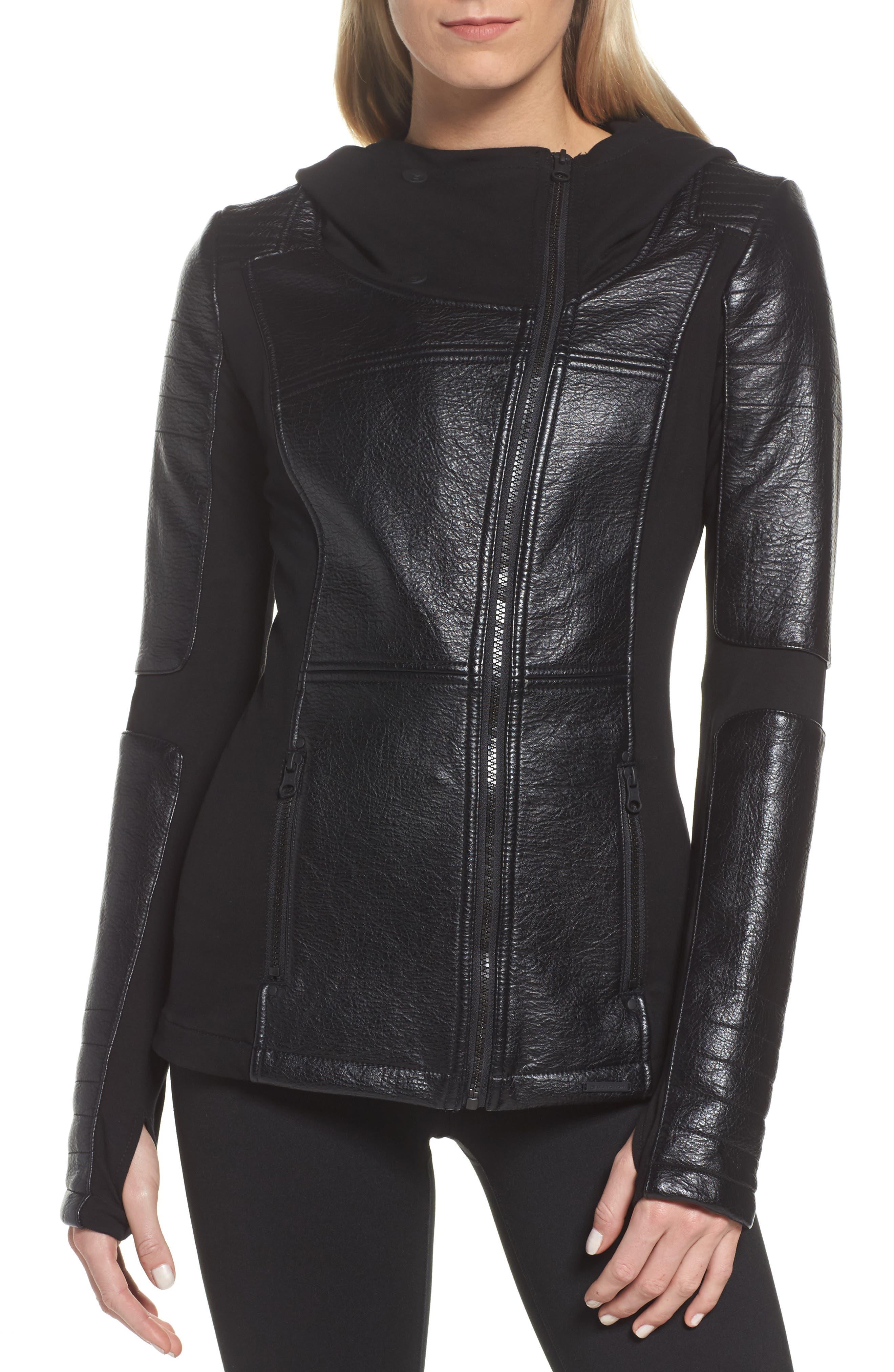 Faux Leather Hooded Moto Jacket,                             Main thumbnail 1, color,                             Black