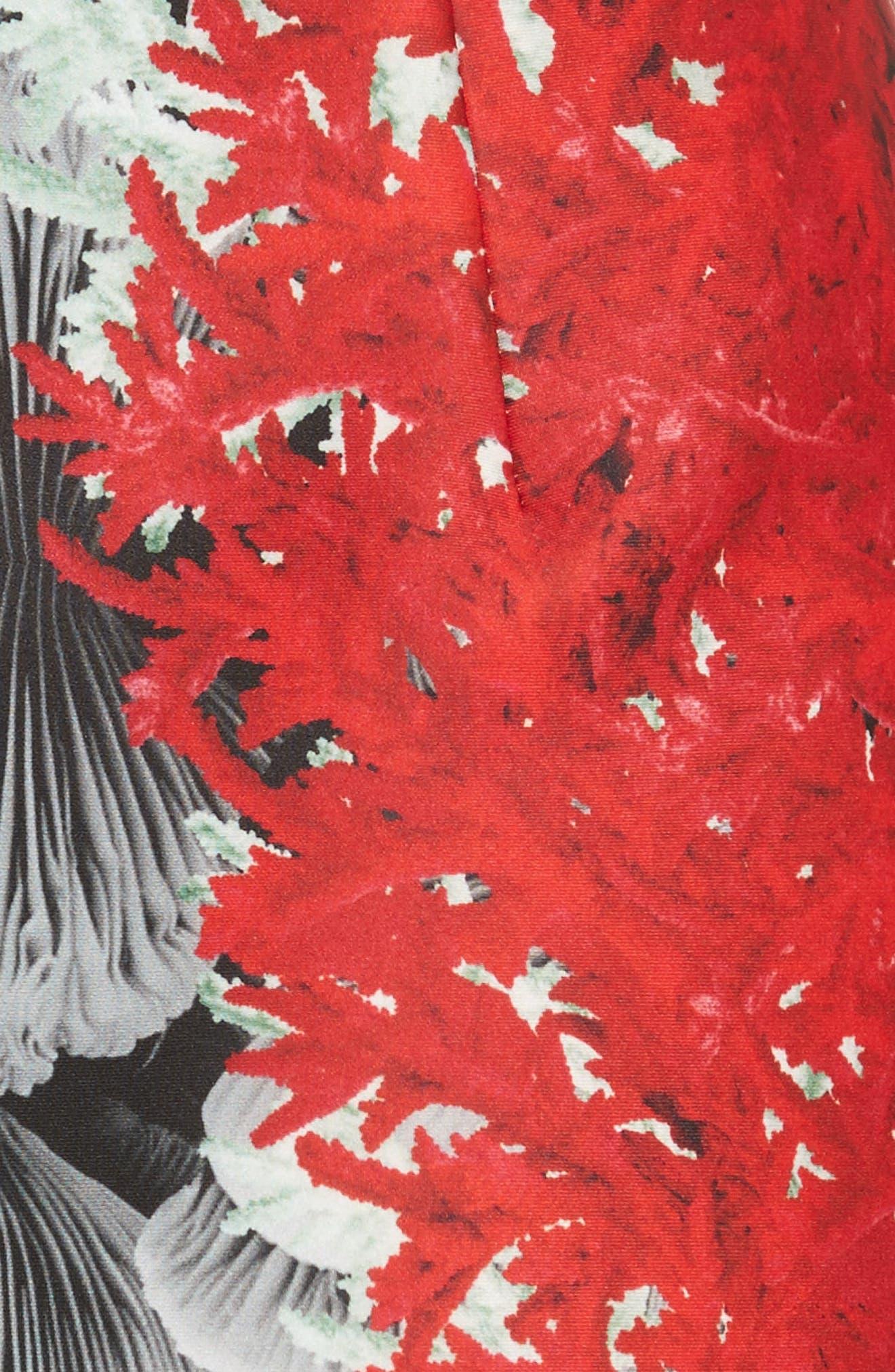 Coral Print Scuba Sheath Dress,                             Alternate thumbnail 6, color,                             Grey Multi
