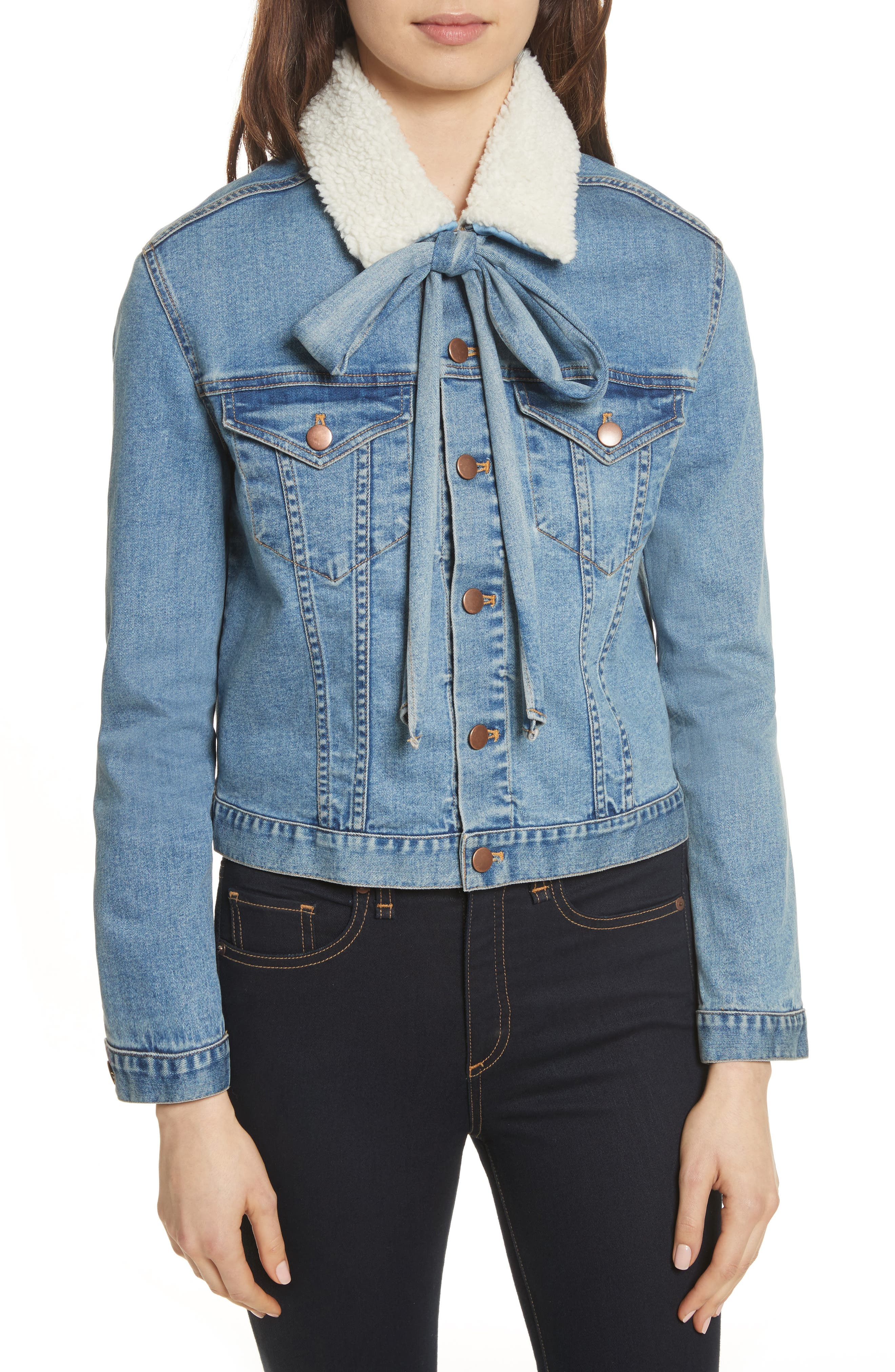Stevie Jean Jacket with Removable Faux Shearling Collar,                             Main thumbnail 1, color,                             Medium Blue