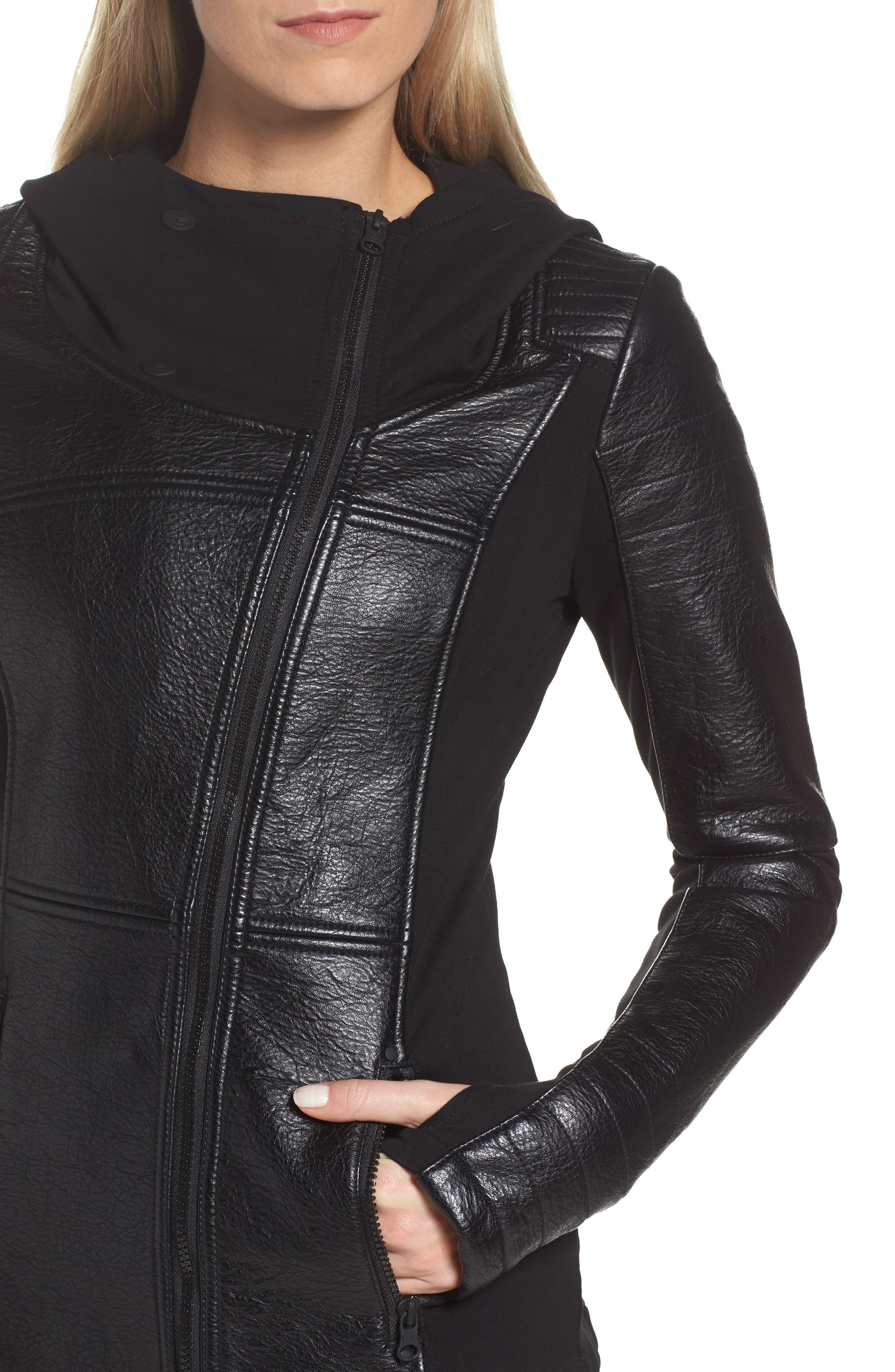 Faux Leather Hooded Moto Jacket,                             Alternate thumbnail 4, color,                             Black