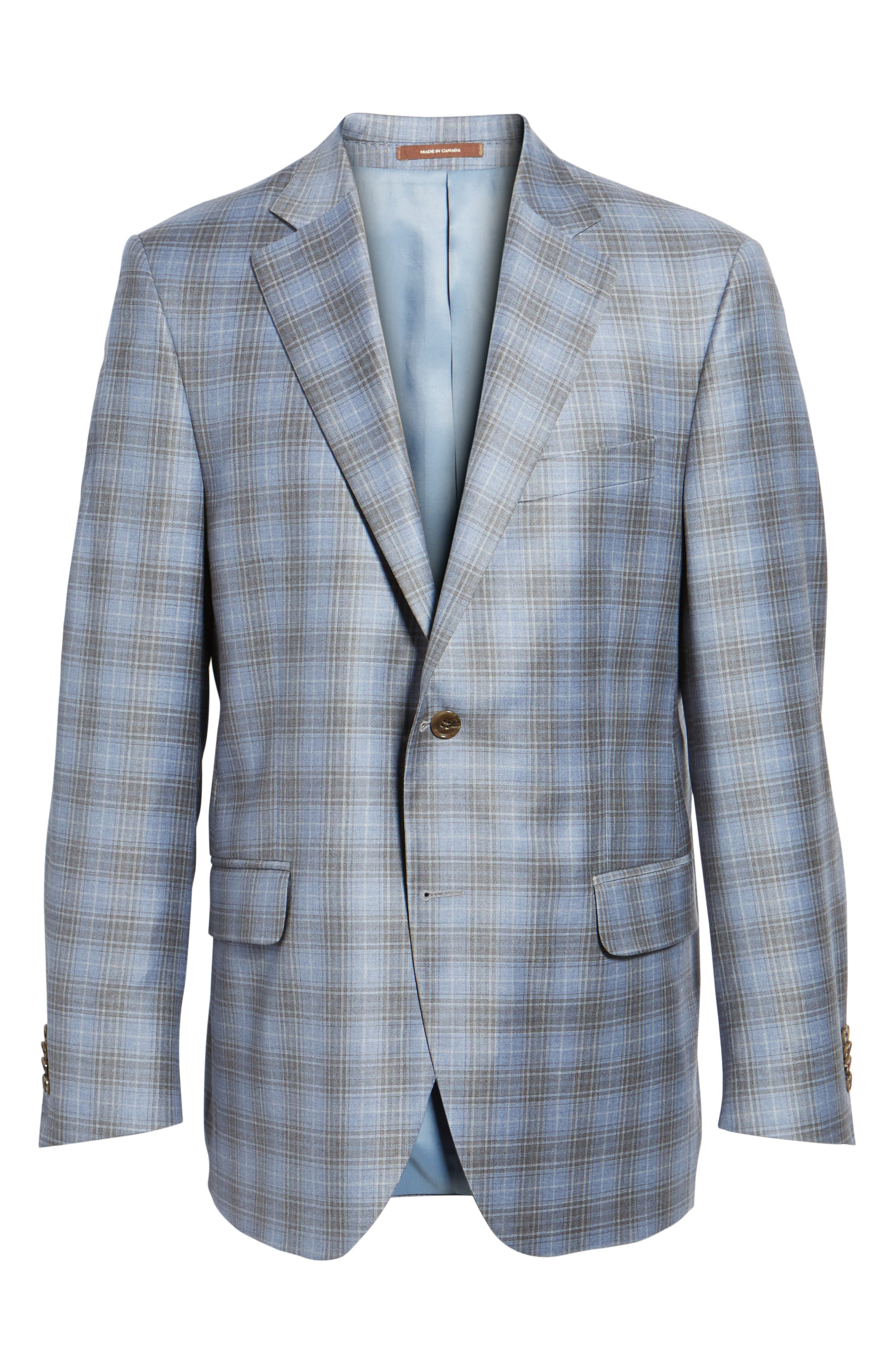 Classic Fit Plaid Wool Sport Coat,                             Alternate thumbnail 6, color,                             Light Blue