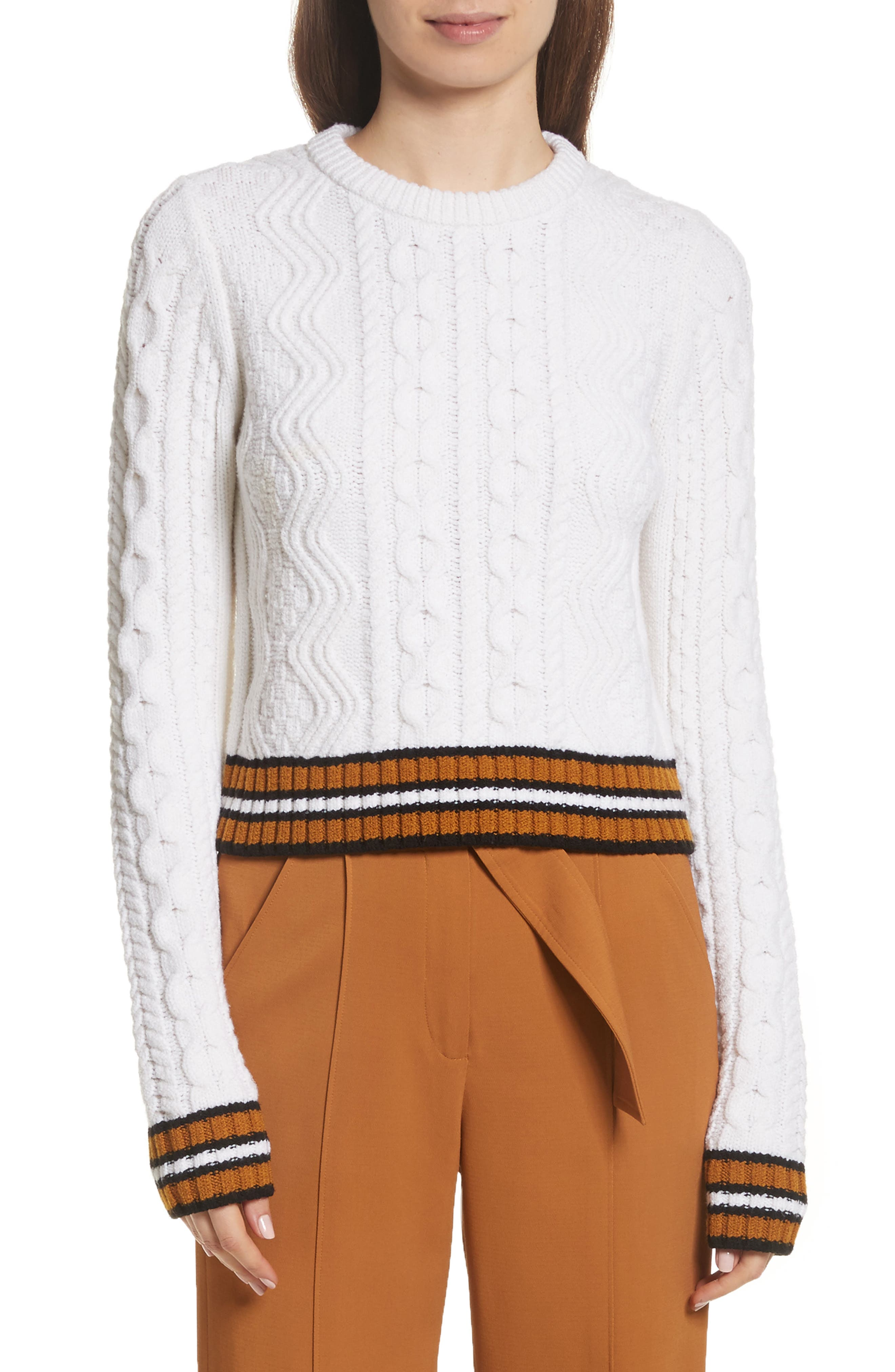 Alpha Cable Knit Sweater,                             Main thumbnail 1, color,                             White