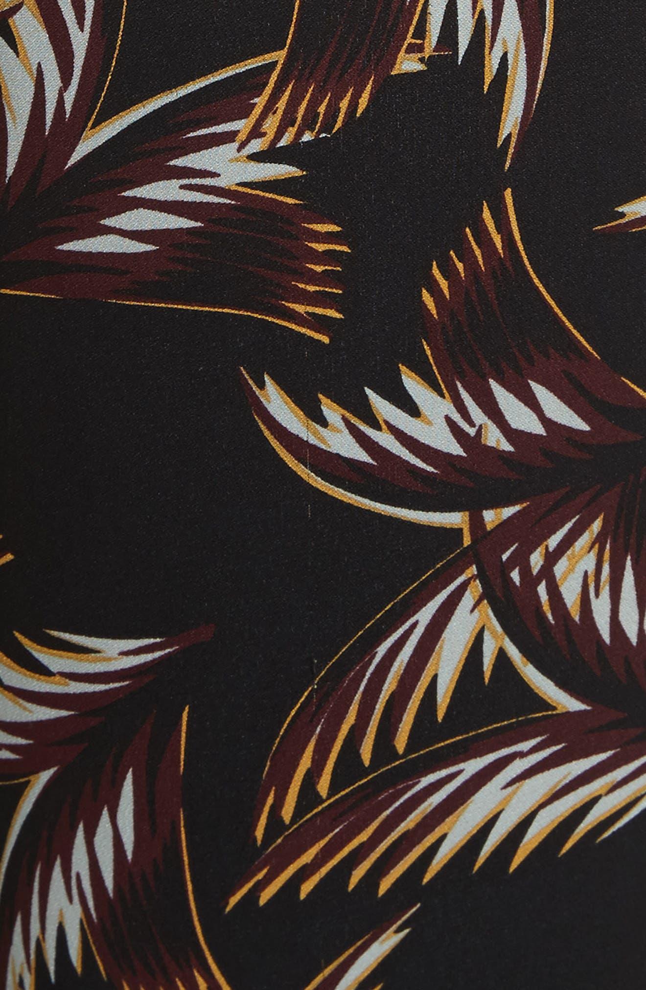 Felix Print Silk Crop Flare Pants,                             Alternate thumbnail 6, color,                             Black