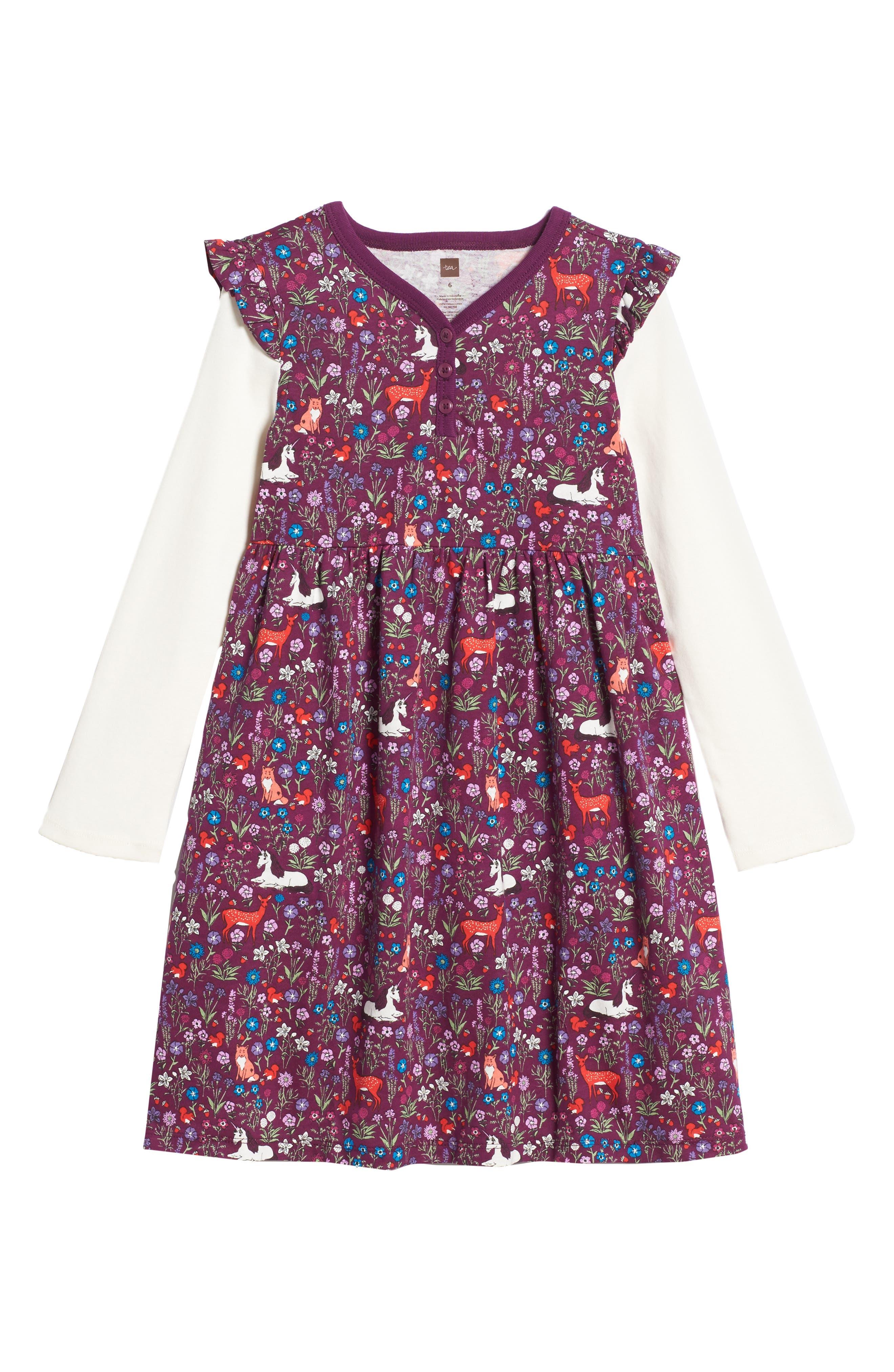 Tea Collection Woodland Layered Henley Dress (Toddler Girls, Little Girls & Big Girls)