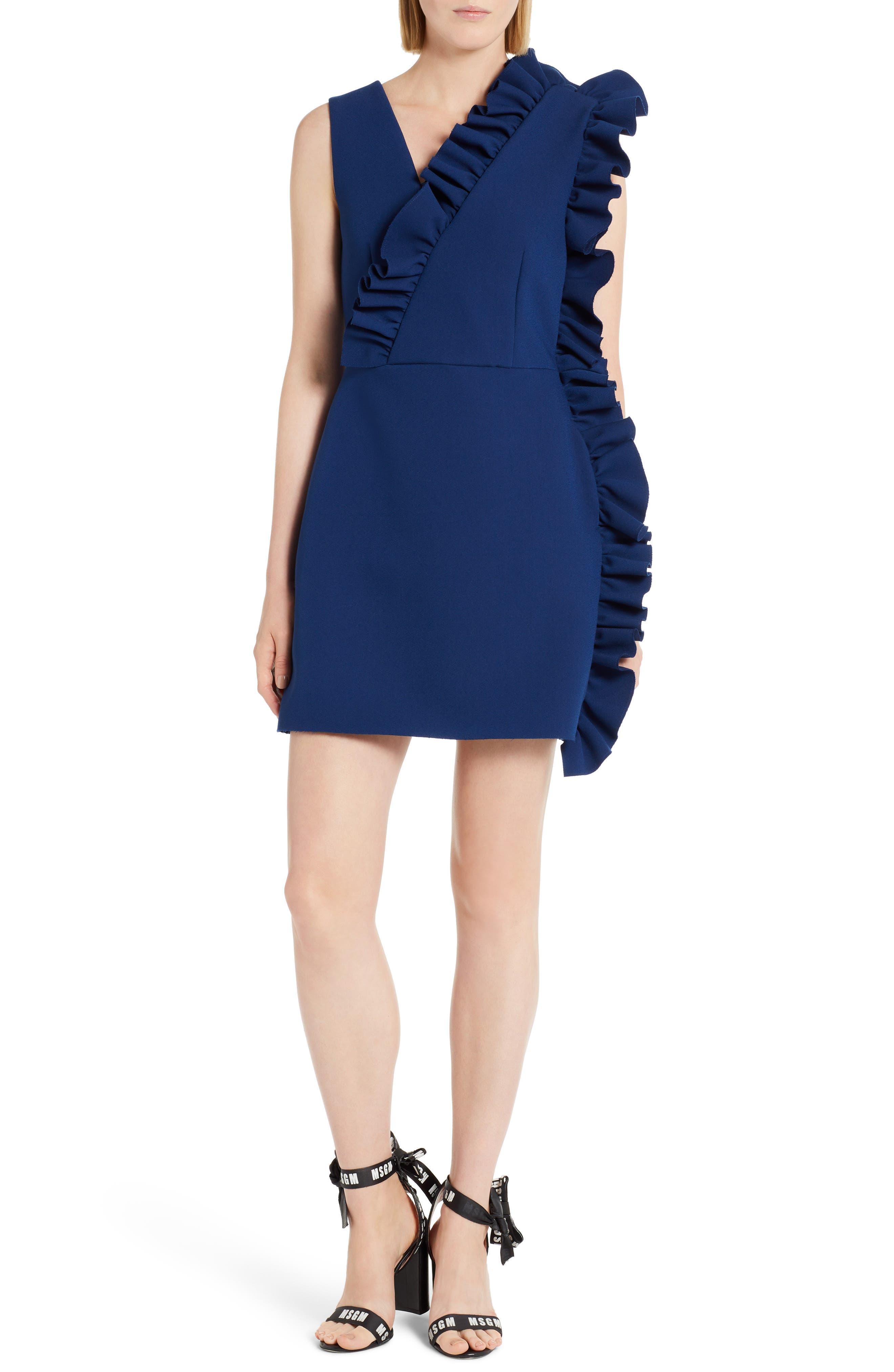 Ruffle Trim Dress,                             Main thumbnail 1, color,                             Navy 89