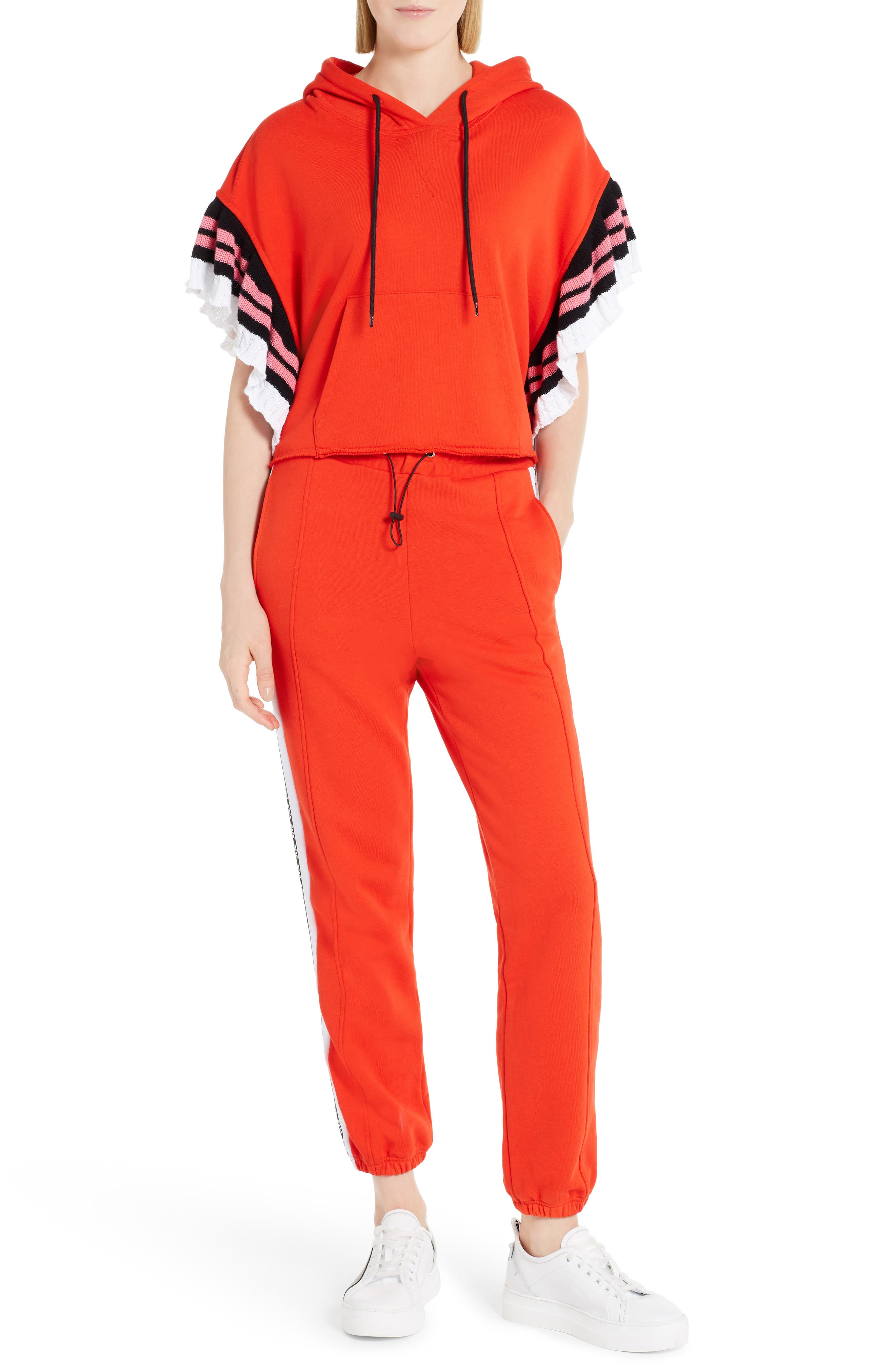 Logo Cotton Track Pants,                             Alternate thumbnail 6, color,                             Red 18