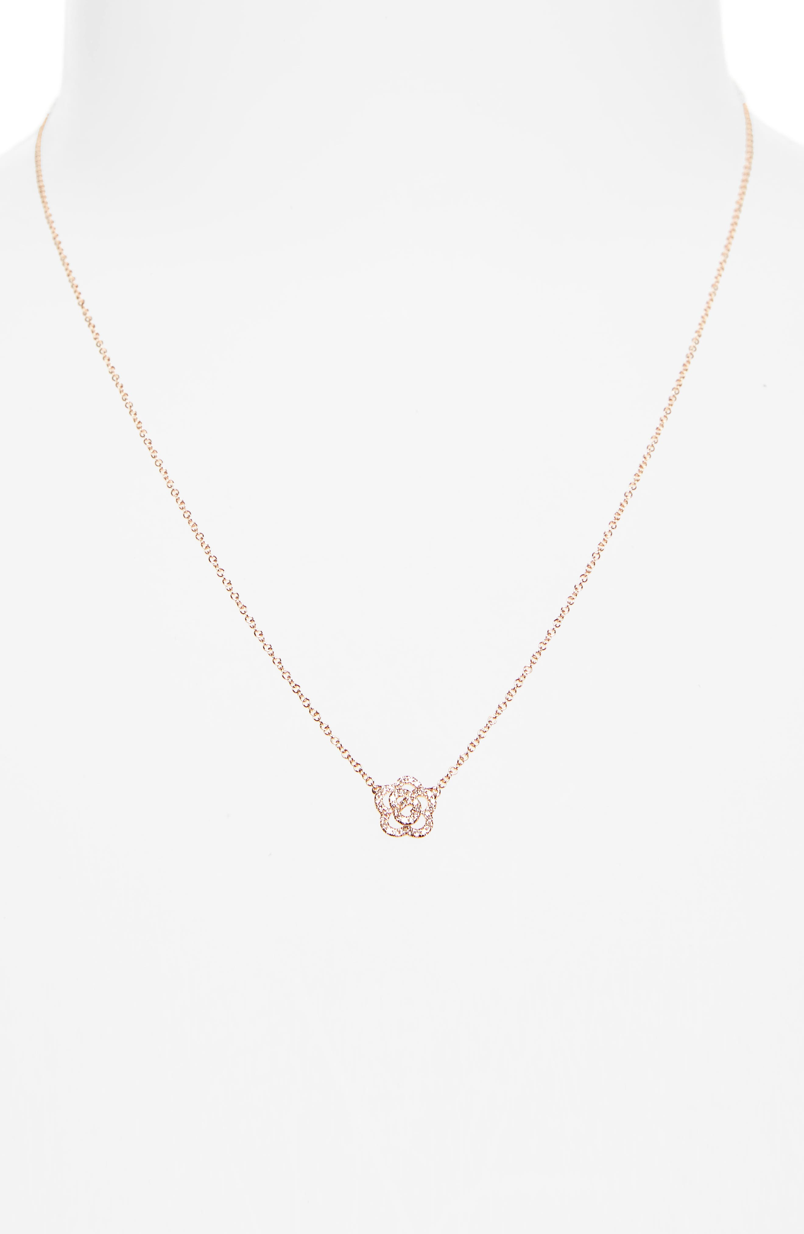 Diamond Pendant Necklace,                             Alternate thumbnail 2, color,                             Rose Gold
