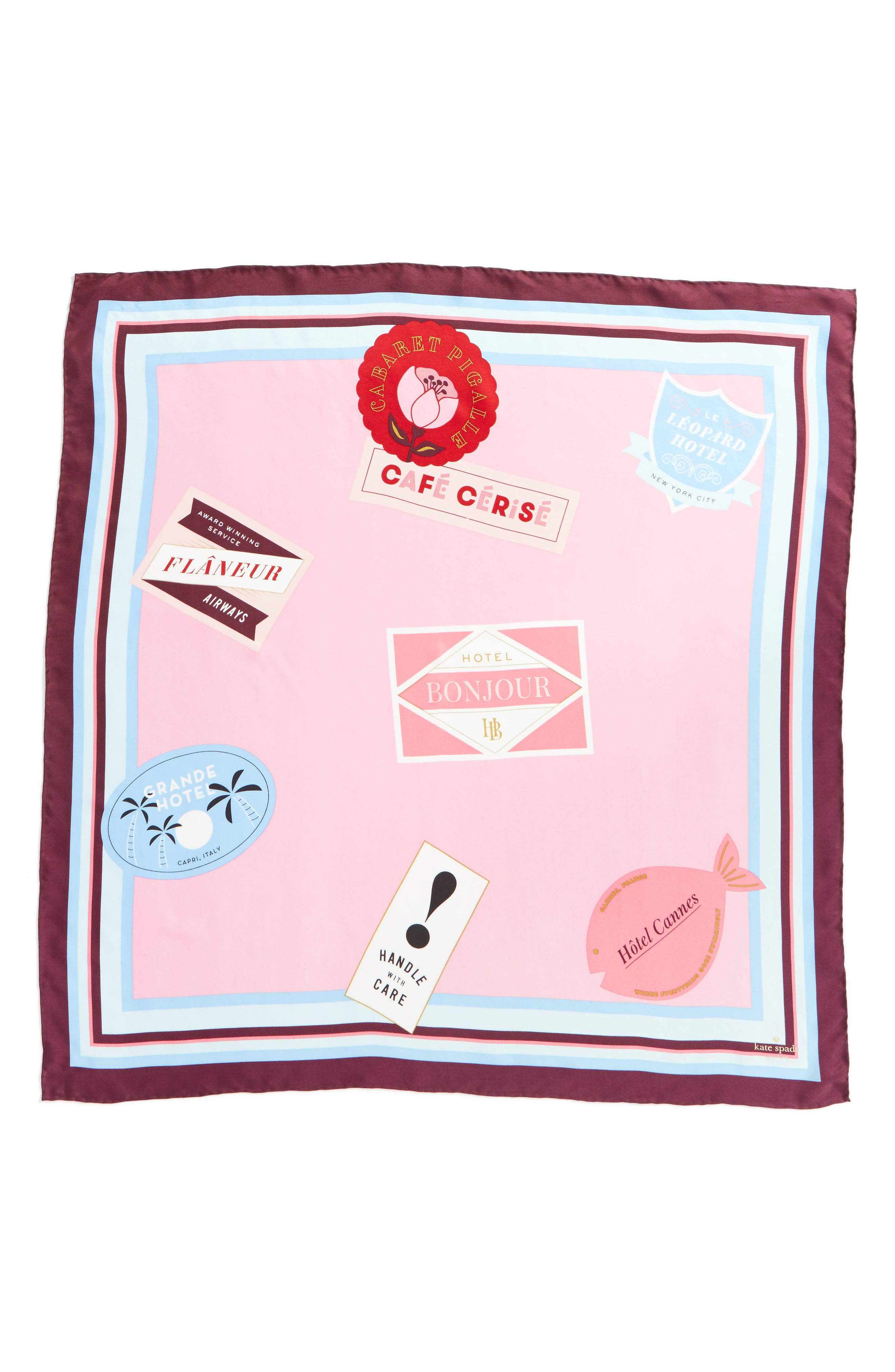 travel stickers silk square scarf,                             Alternate thumbnail 2, color,                             Parisian Pink