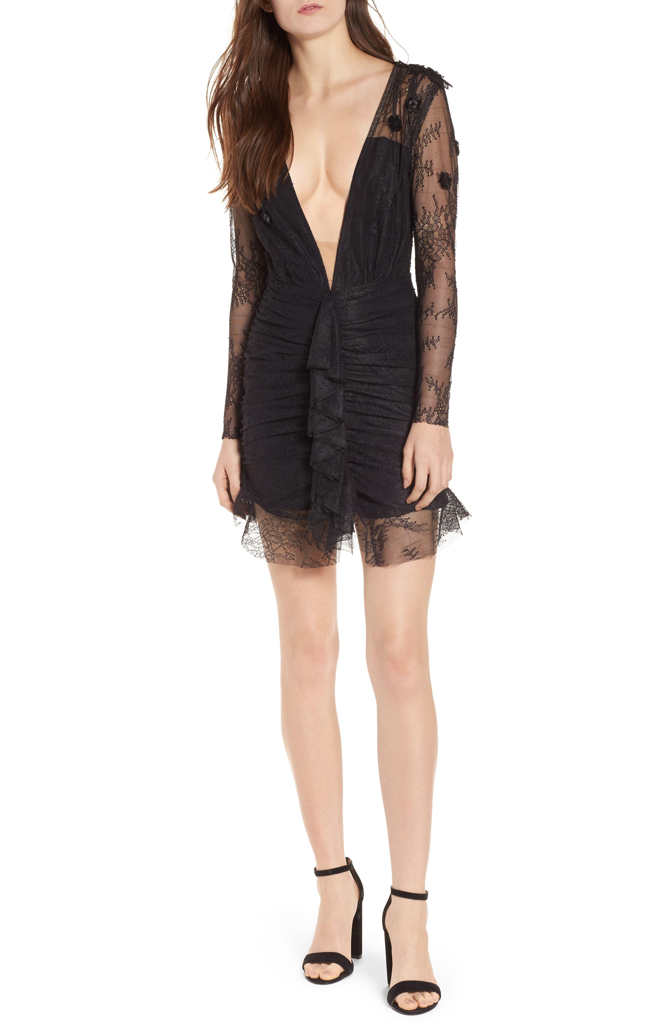Daisy Lace Minidress,                         Main,                         color, Black