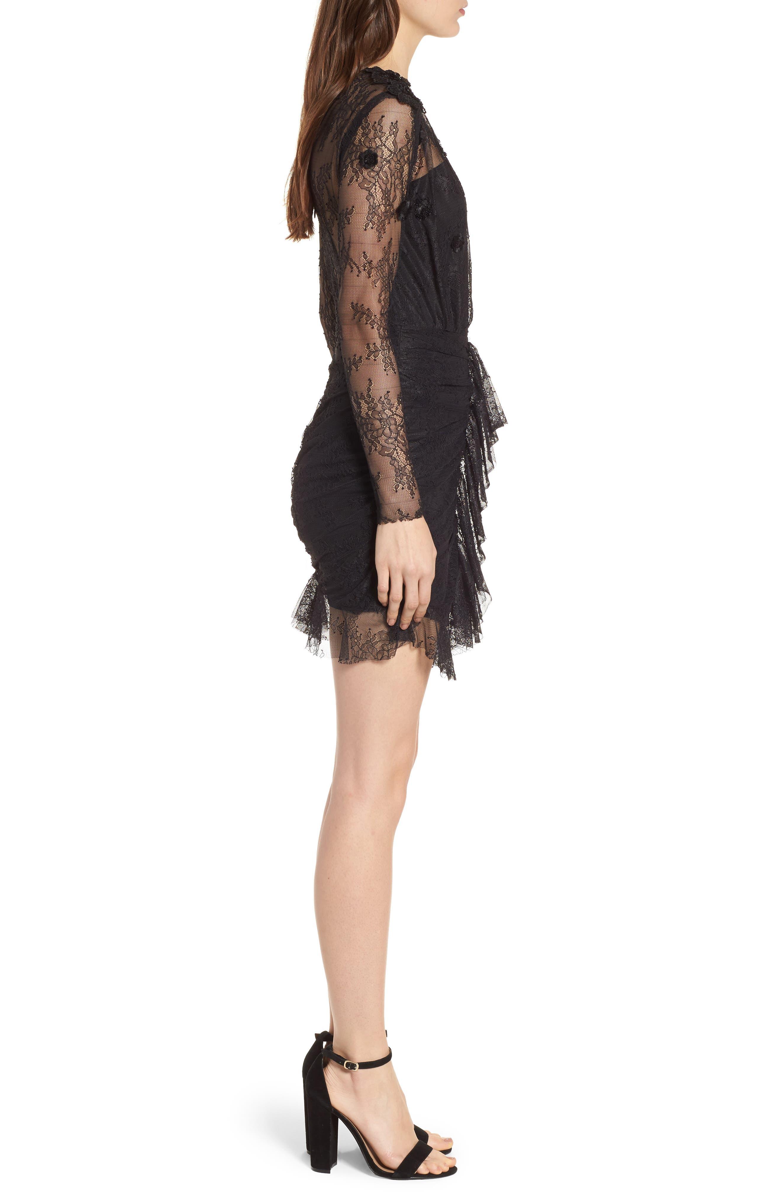 Daisy Lace Minidress,                             Alternate thumbnail 3, color,                             Black