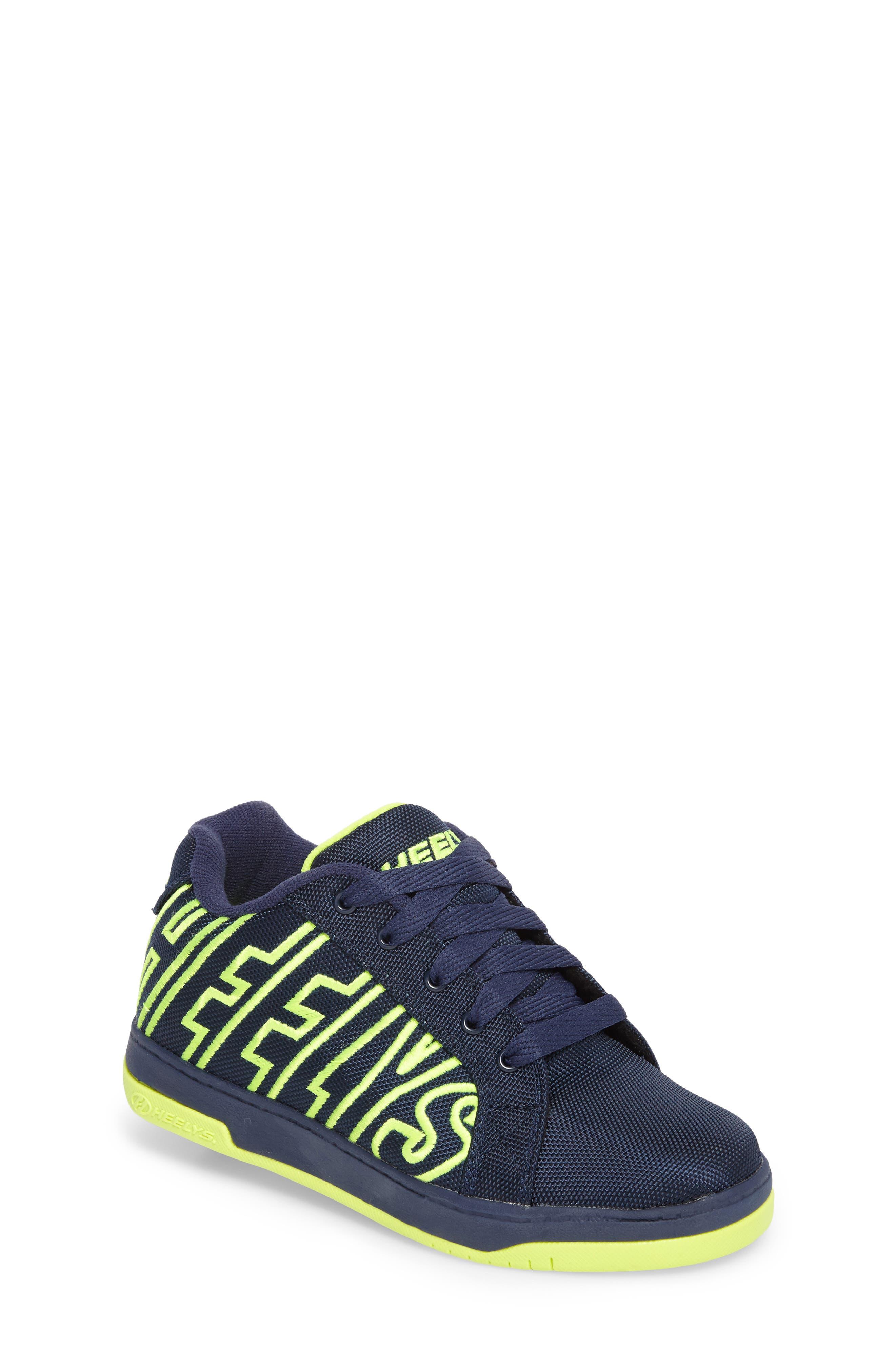 Split Logo Wheeled Skate Sneaker,                             Main thumbnail 1, color,                             Navy/ Bright Yellow