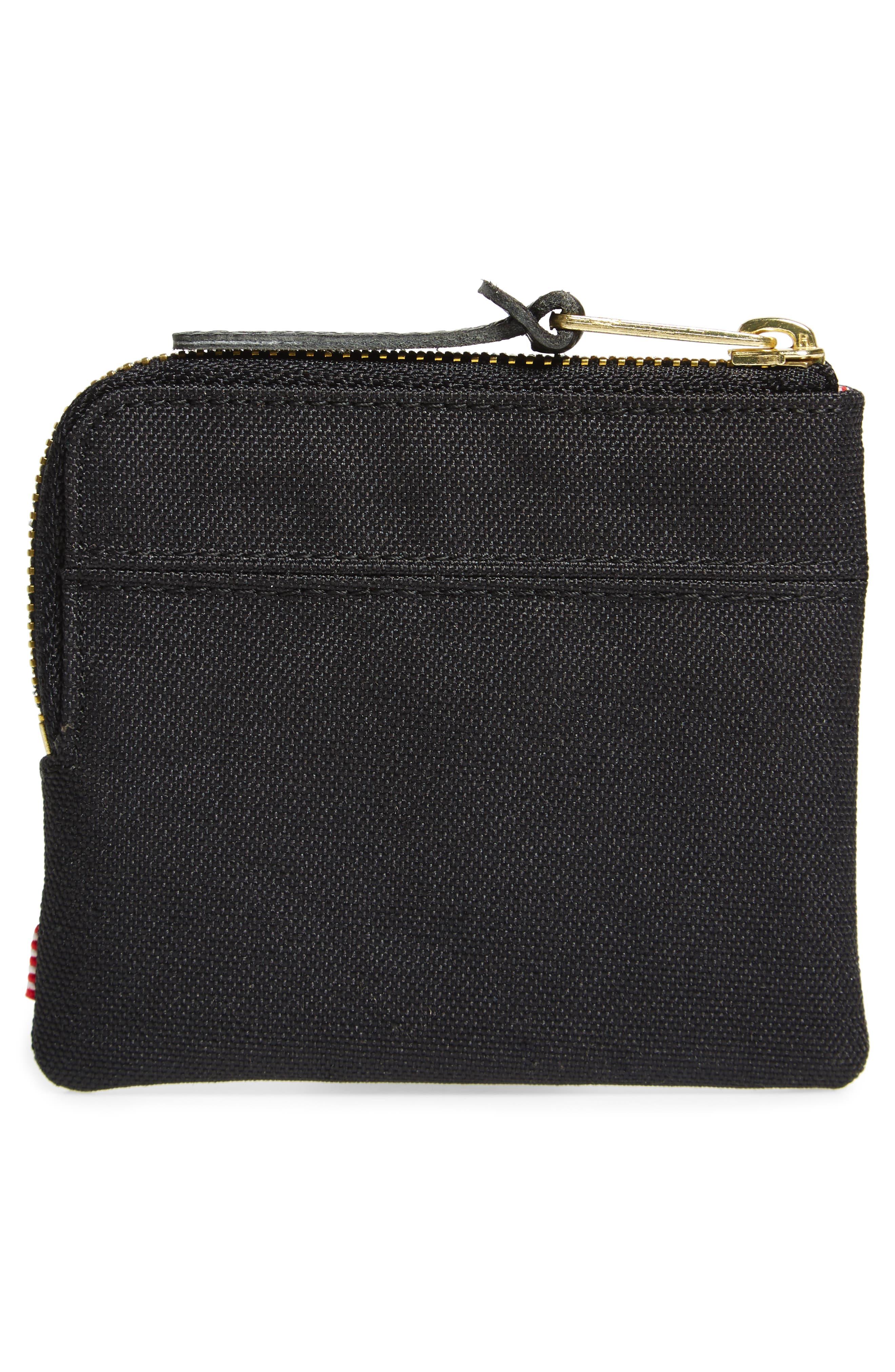 'Johnny' Half Zip Wallet,                             Alternate thumbnail 2, color,                             Black/ Black