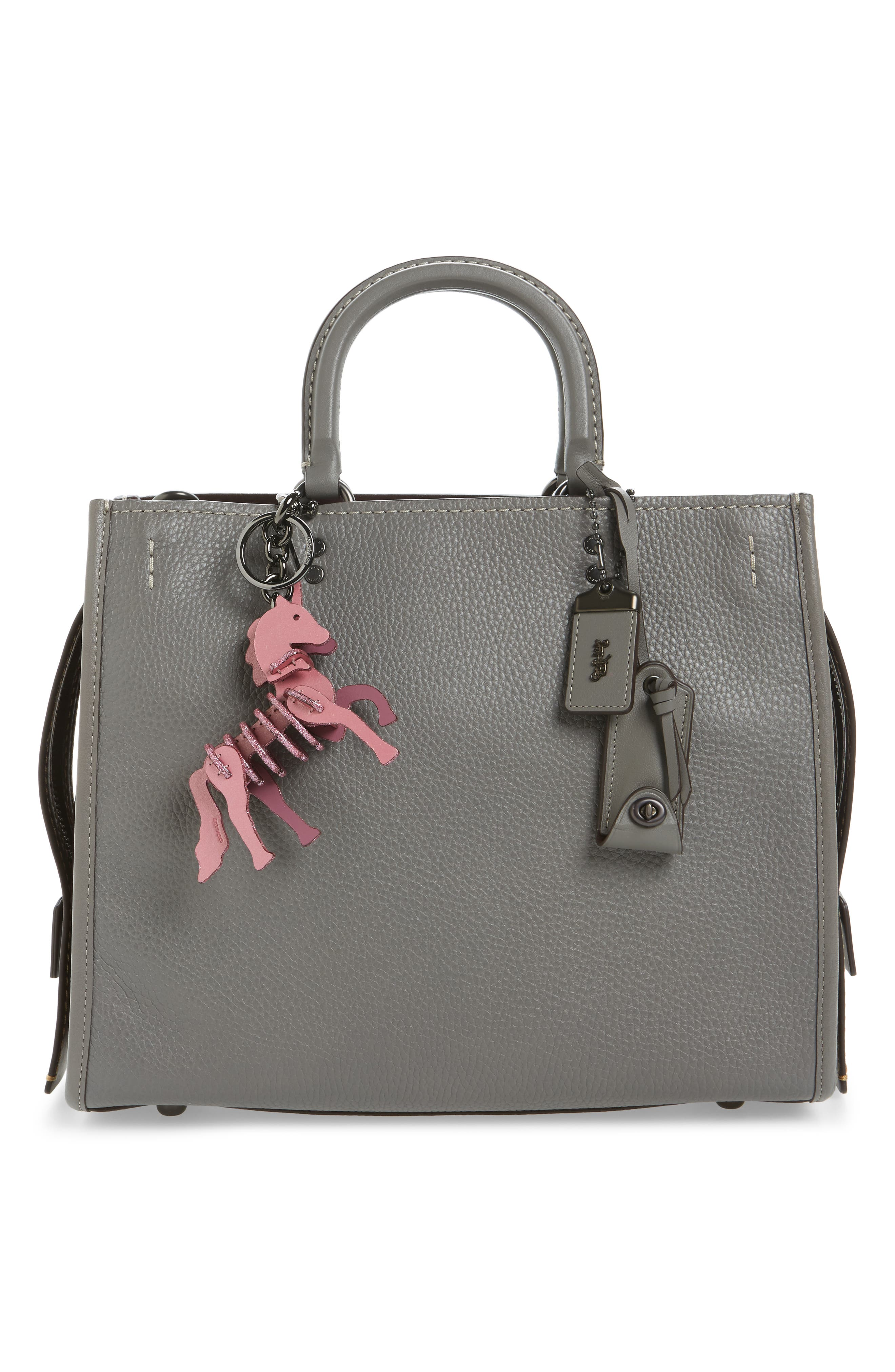 Small Unicorn Leather Bag Charm,                             Alternate thumbnail 2, color,                             Primrose