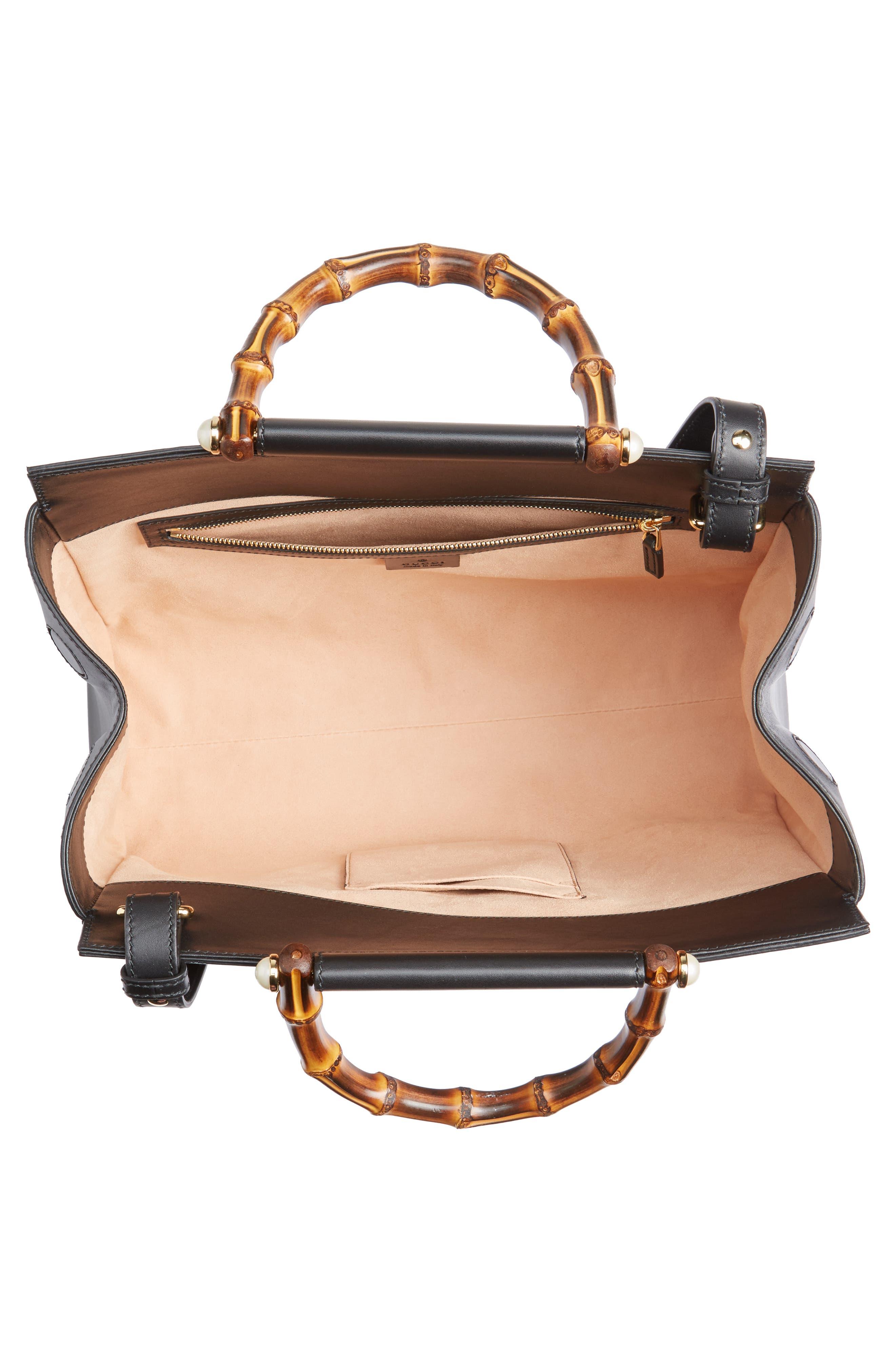 Medium Angel Leather Top Handle Satchel,                             Alternate thumbnail 4, color,                             Nero