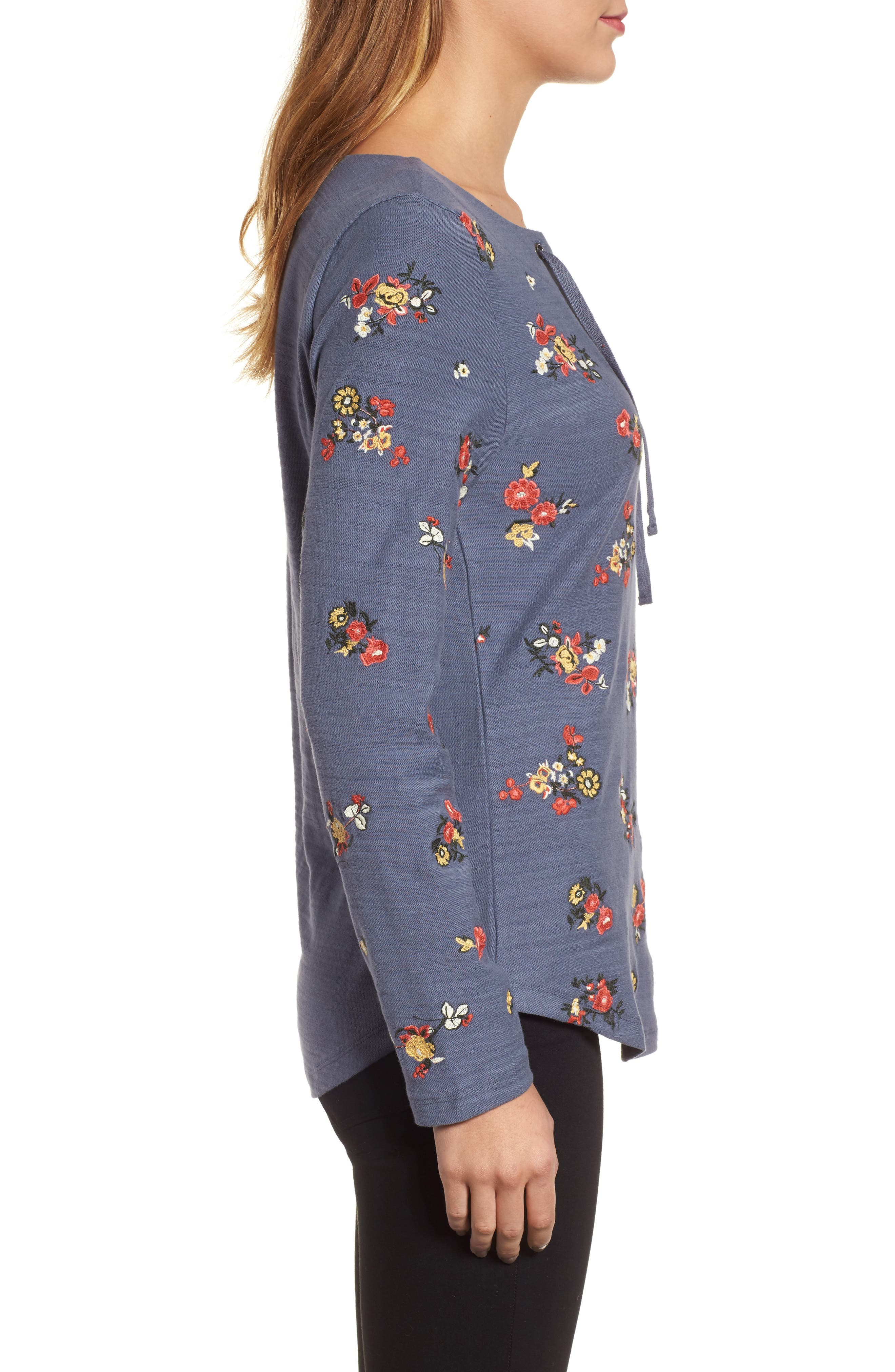 Lace-Up Neck Floral Embroidered Sweatshirt,                             Alternate thumbnail 3, color,                             Grey Floral