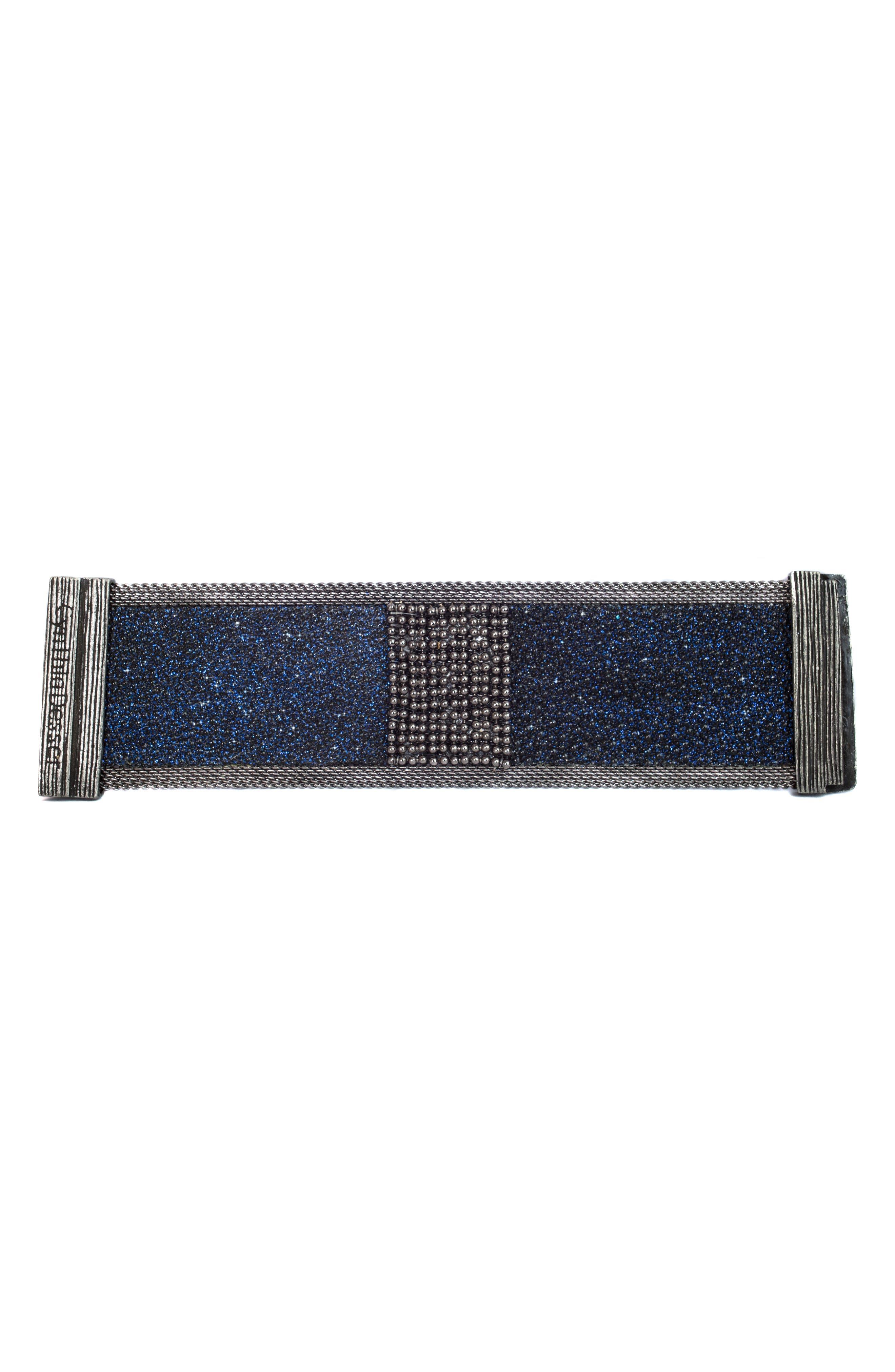 Wide Shimmer Stingray Bracelet,                             Alternate thumbnail 2, color,                             Black/ Cobalt Blue/ Gun Metal