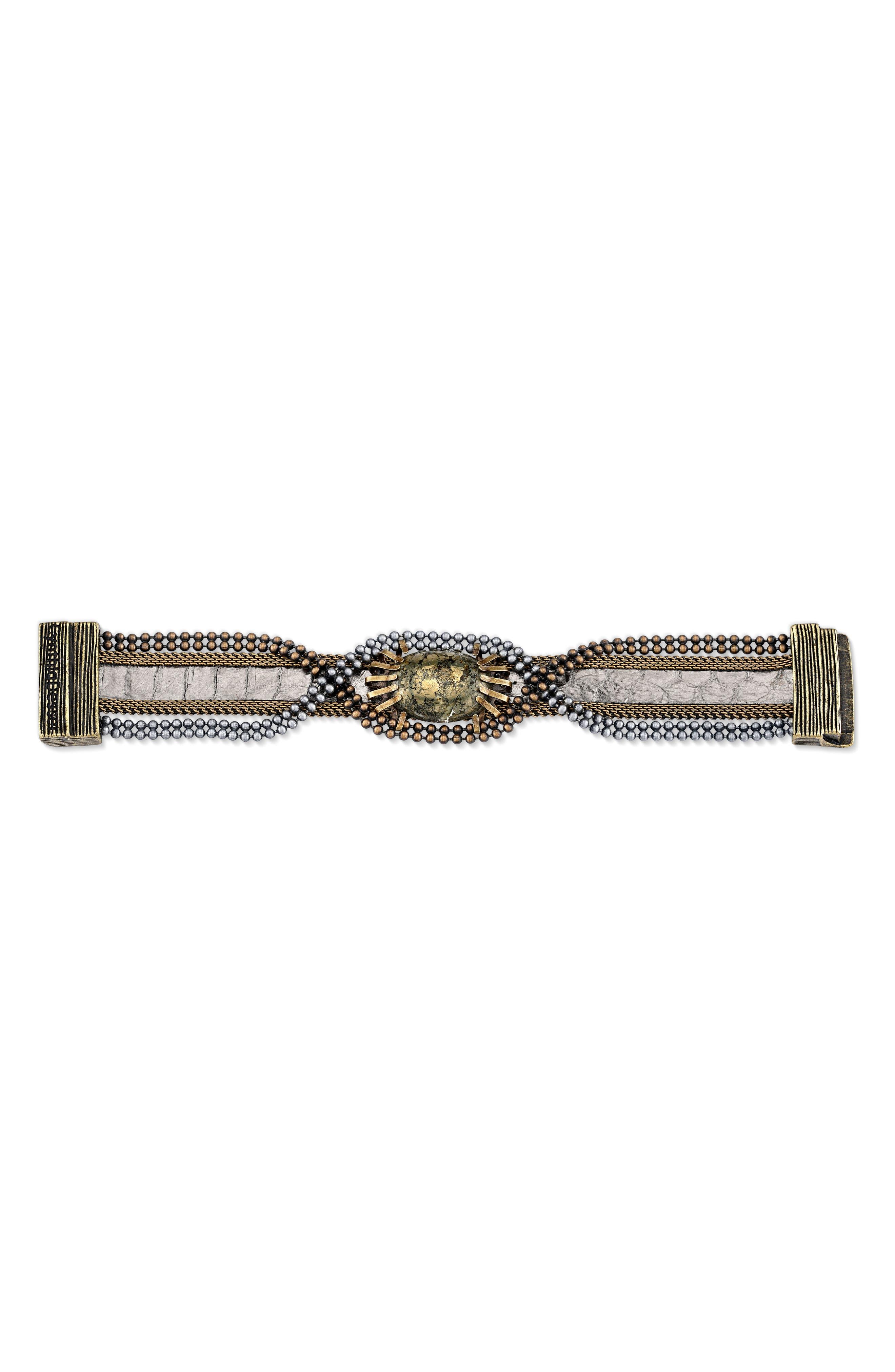 Stone & Snakeskin Bracelet,                             Alternate thumbnail 2, color,                             Bronze/ Silver/ Gold
