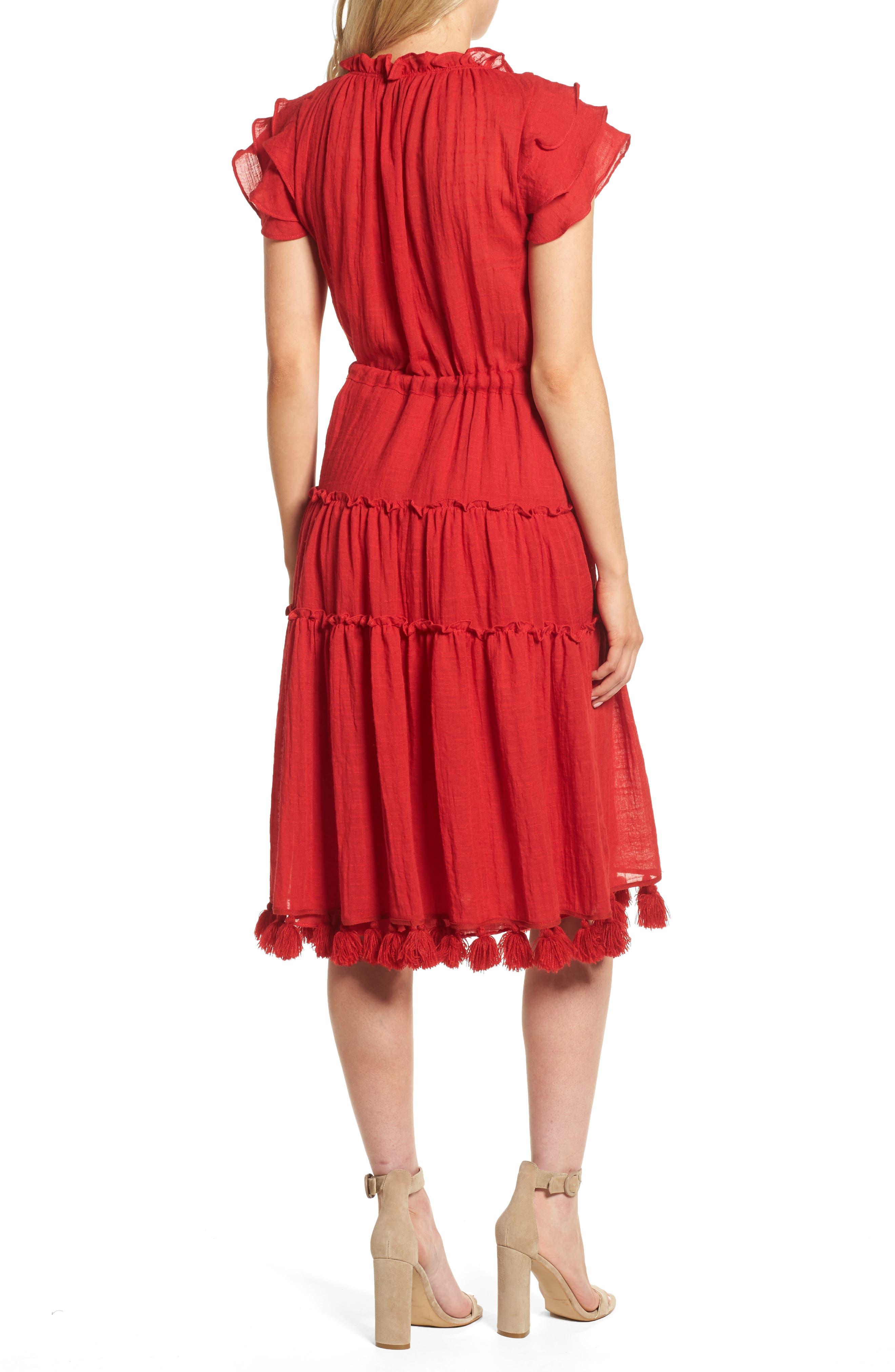Roza Midi Dress,                             Alternate thumbnail 2, color,                             Scarlet