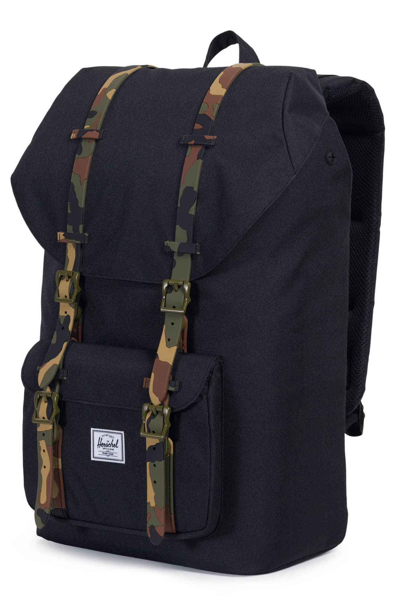 Little America Backpack,                             Alternate thumbnail 4, color,                             Black/ Woodland Camo Rubber