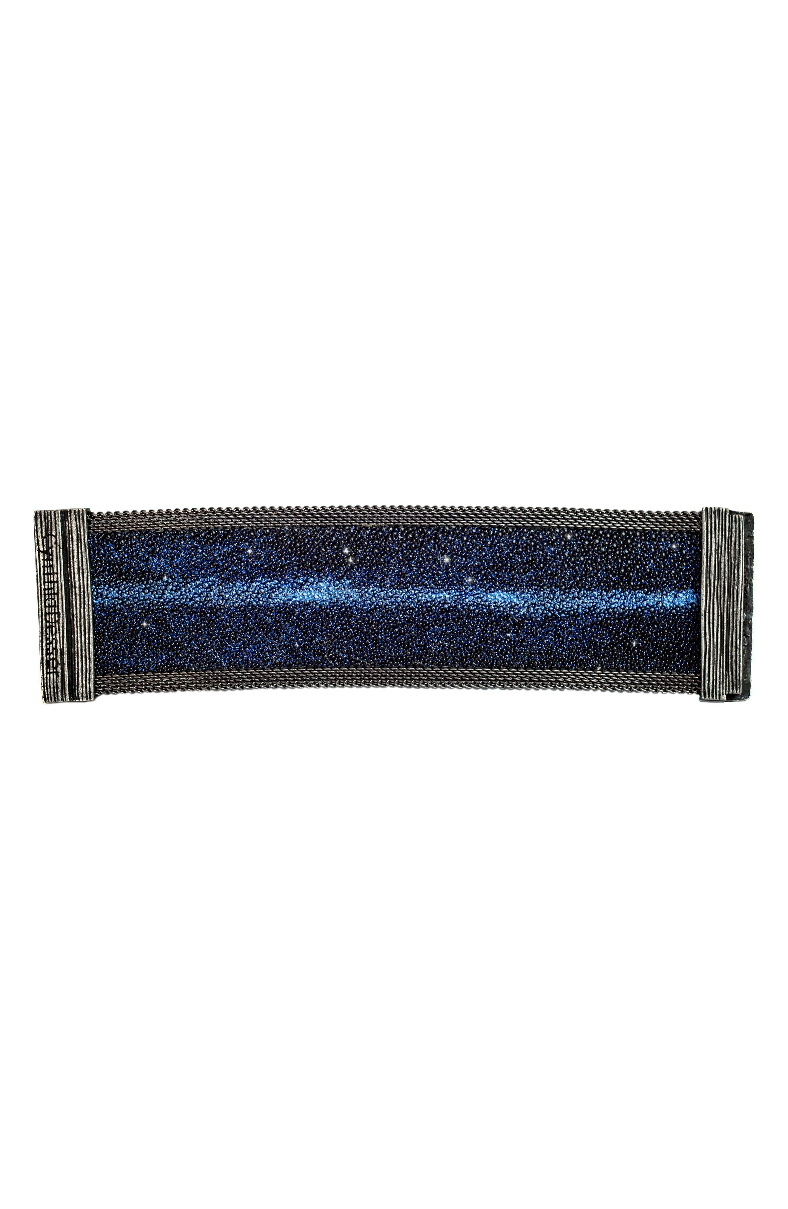 Shimmer Stingray Bracelet,                             Alternate thumbnail 2, color,                             Cobalt Blue/ Gunmetal