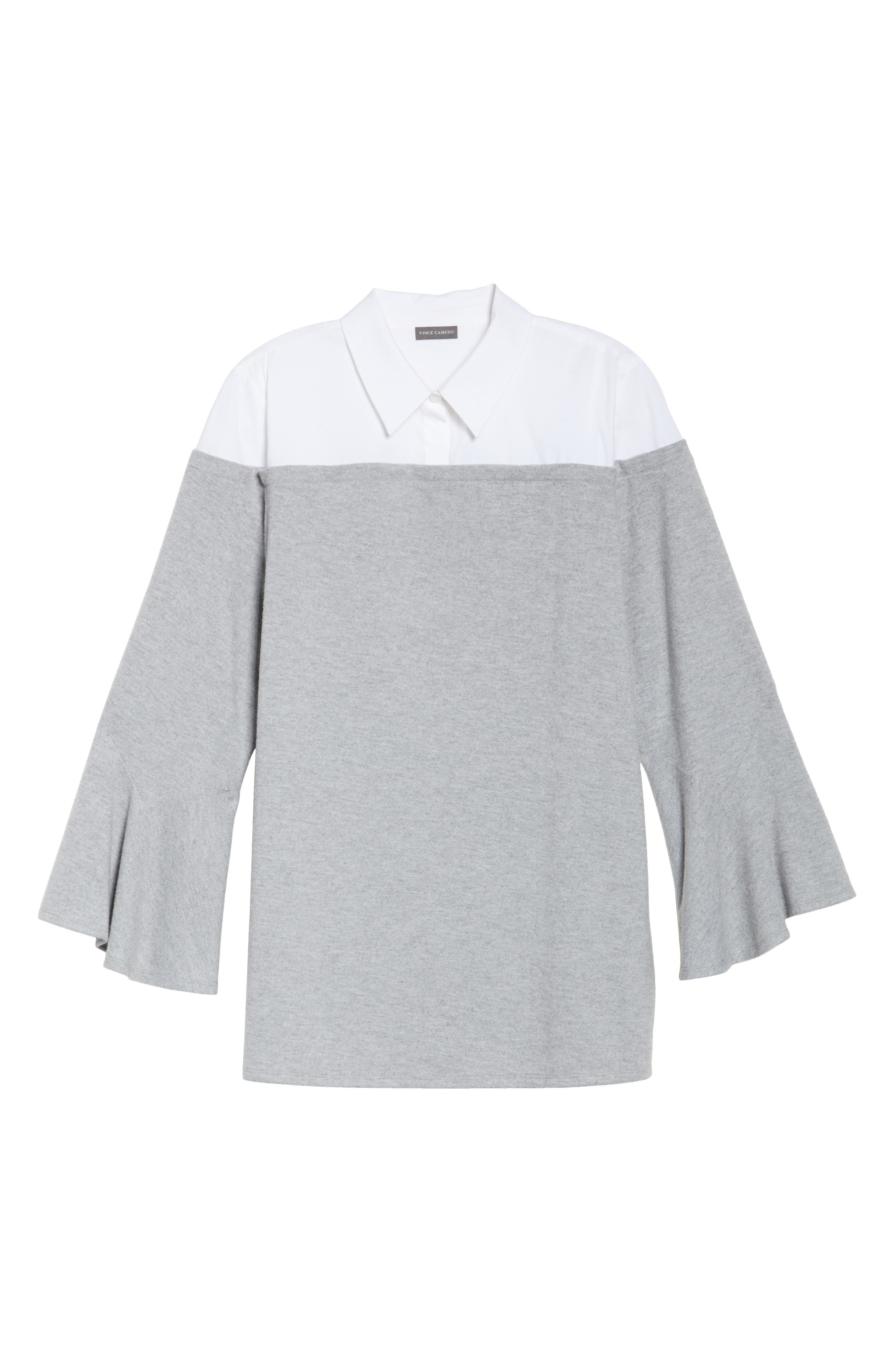 Bell Sleeve Mixed Media Top,                             Alternate thumbnail 6, color,                             Light Heather Grey