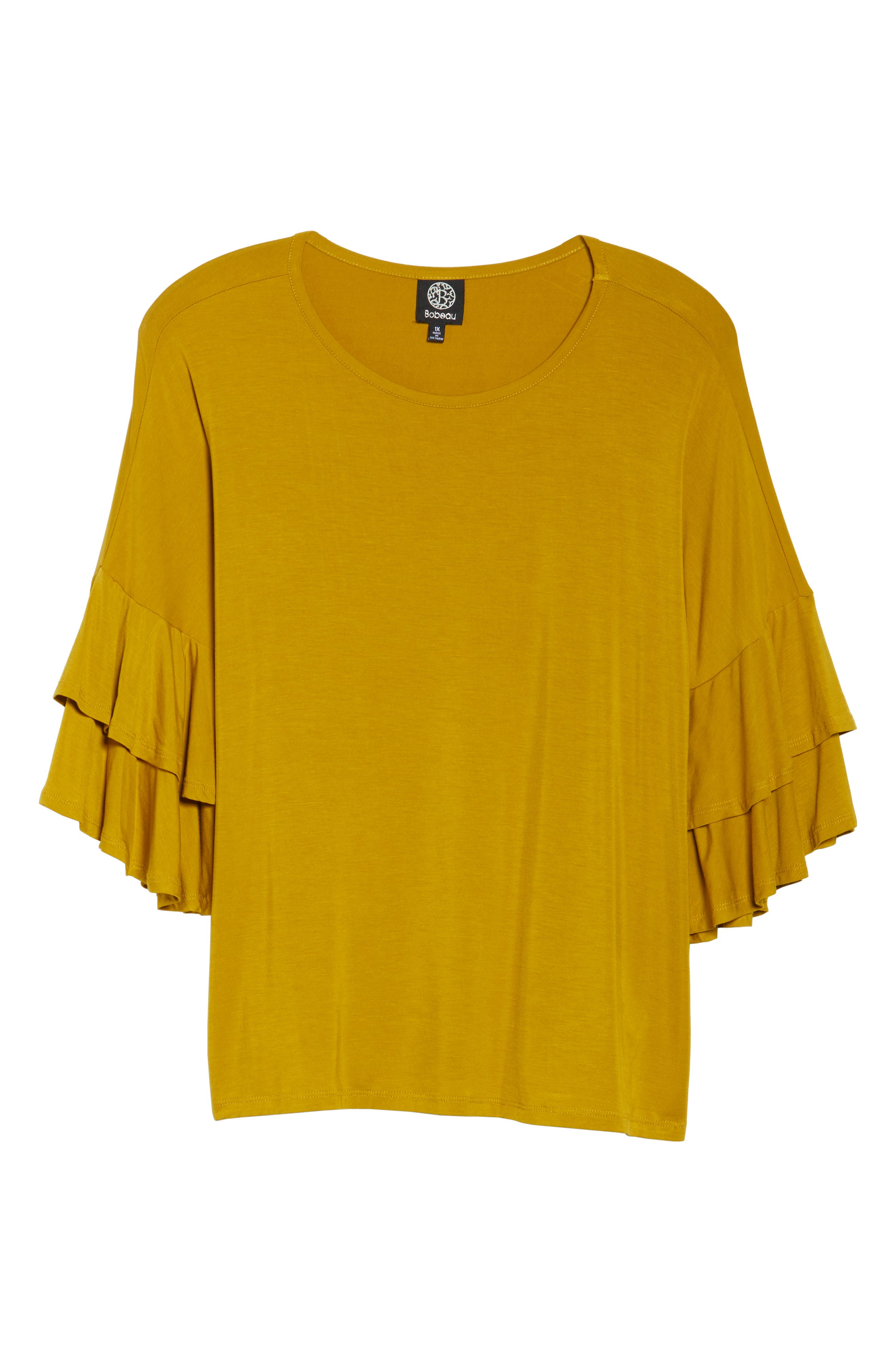 Double Ruffle Sleeve Top,                             Alternate thumbnail 6, color,                             Olive Light
