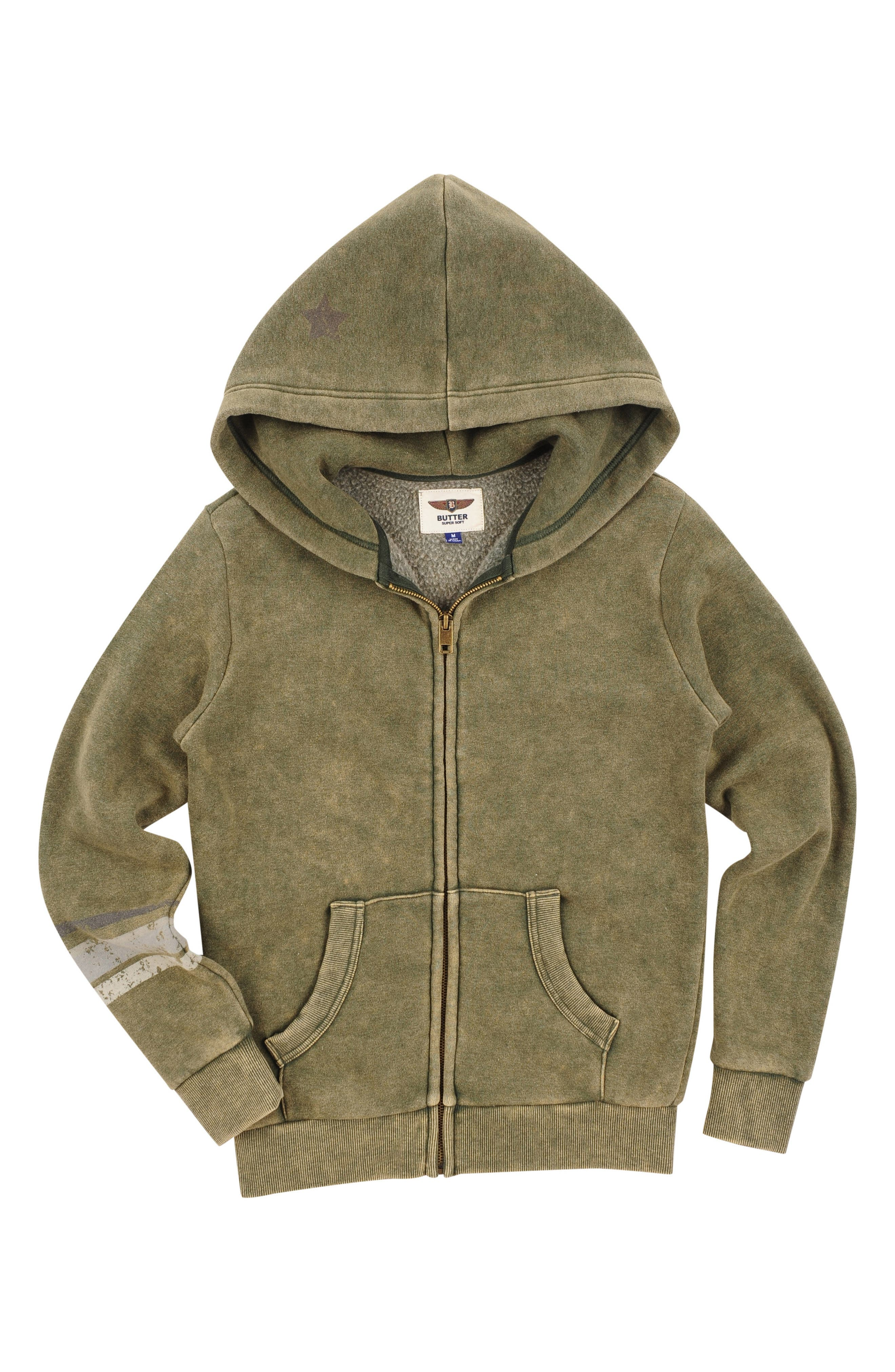 Alternate Image 1 Selected - Butter Super Soft Graphic Zip Hoodie (Little Boys)