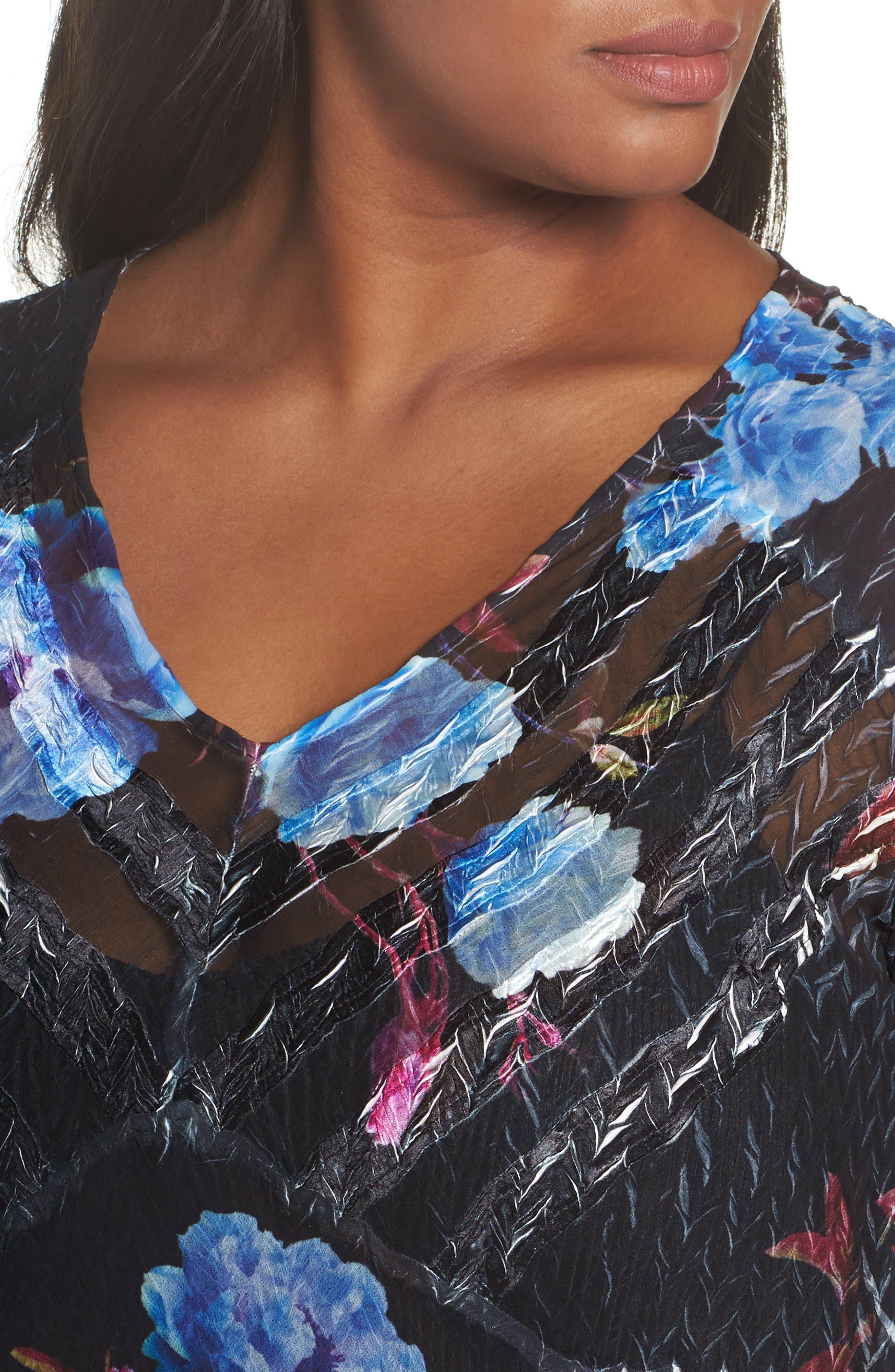 Floral Charmeuse & Chiffon A-Line Dress,                             Alternate thumbnail 4, color,                             Midnight Aurora