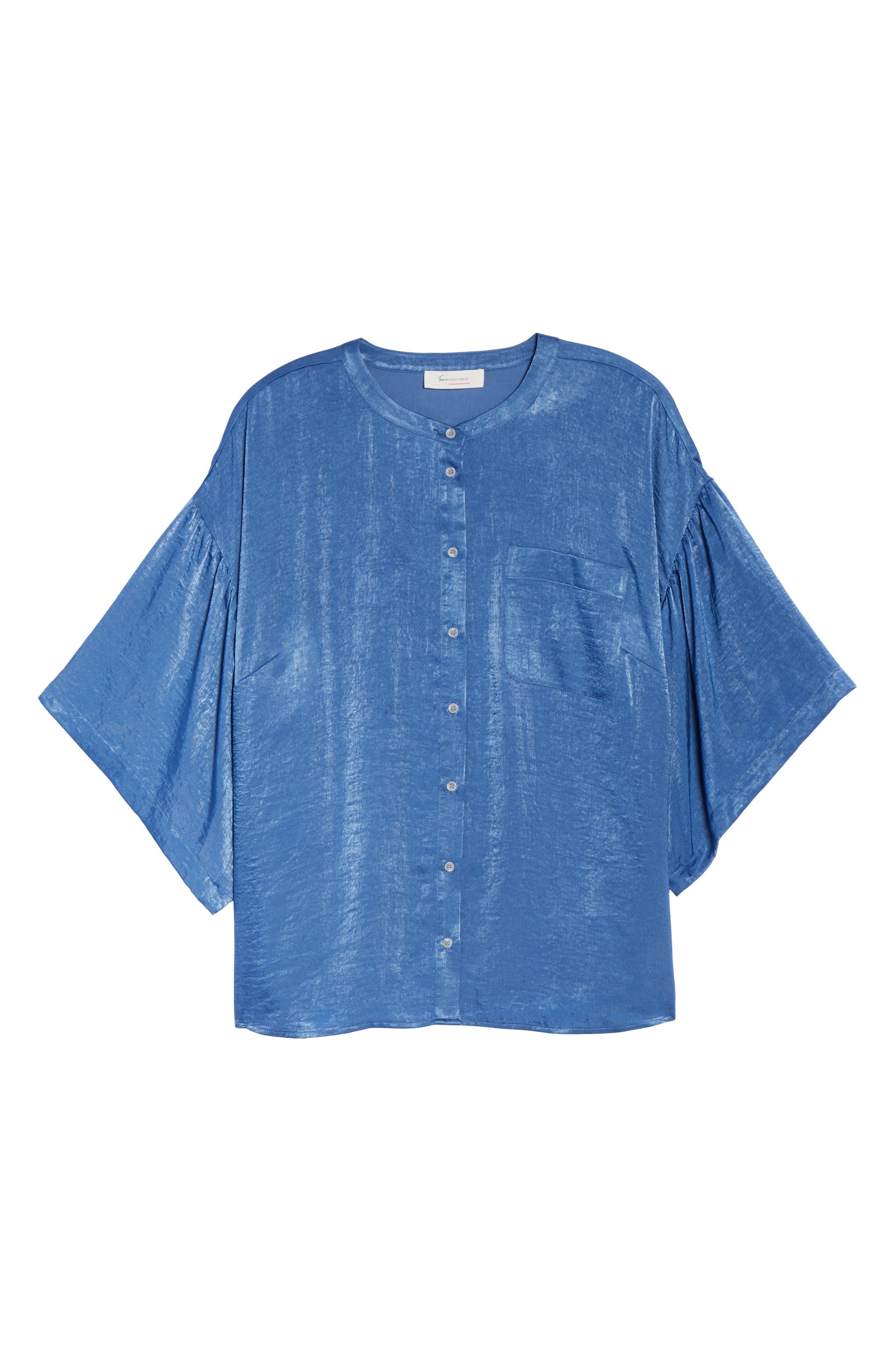 Bell Sleeve Rumpled Satin Blouse,                             Alternate thumbnail 6, color,                             322-Divine Blue