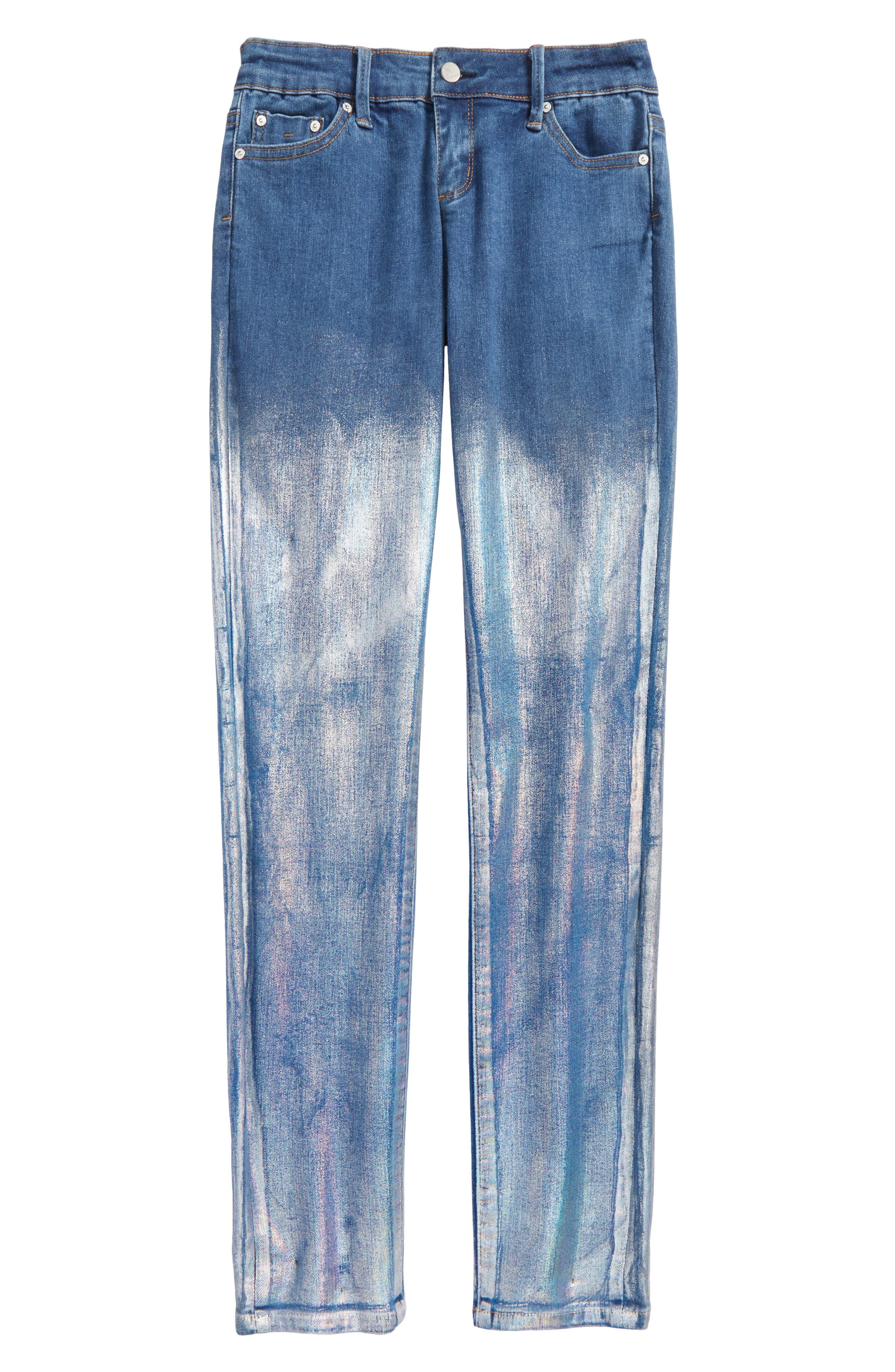 Tractr Chameleon Foil Skinny Jeans (Big Girls)