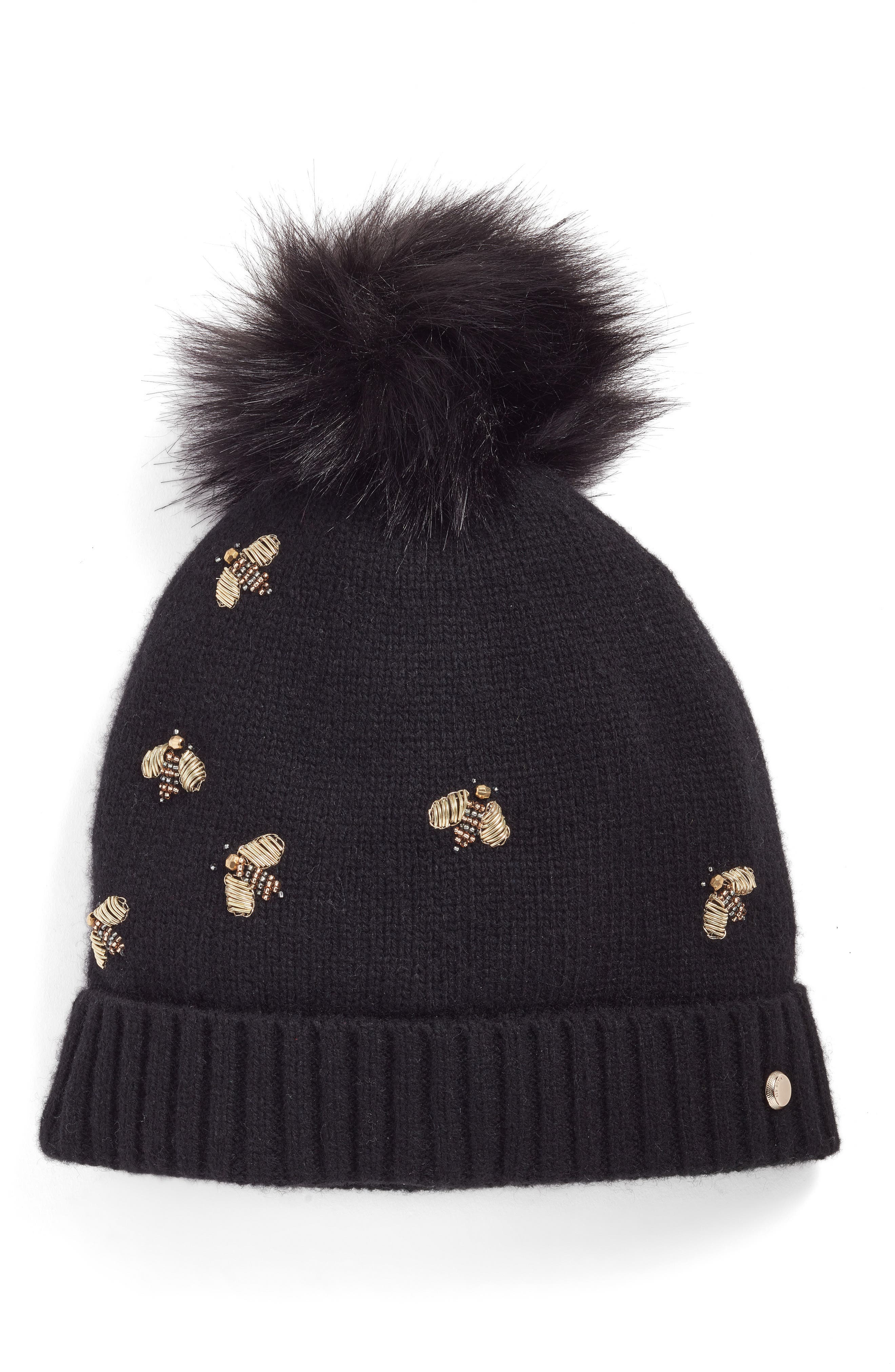 Ted Baker London Bee Embellished Beanie with Faux Fur Pom