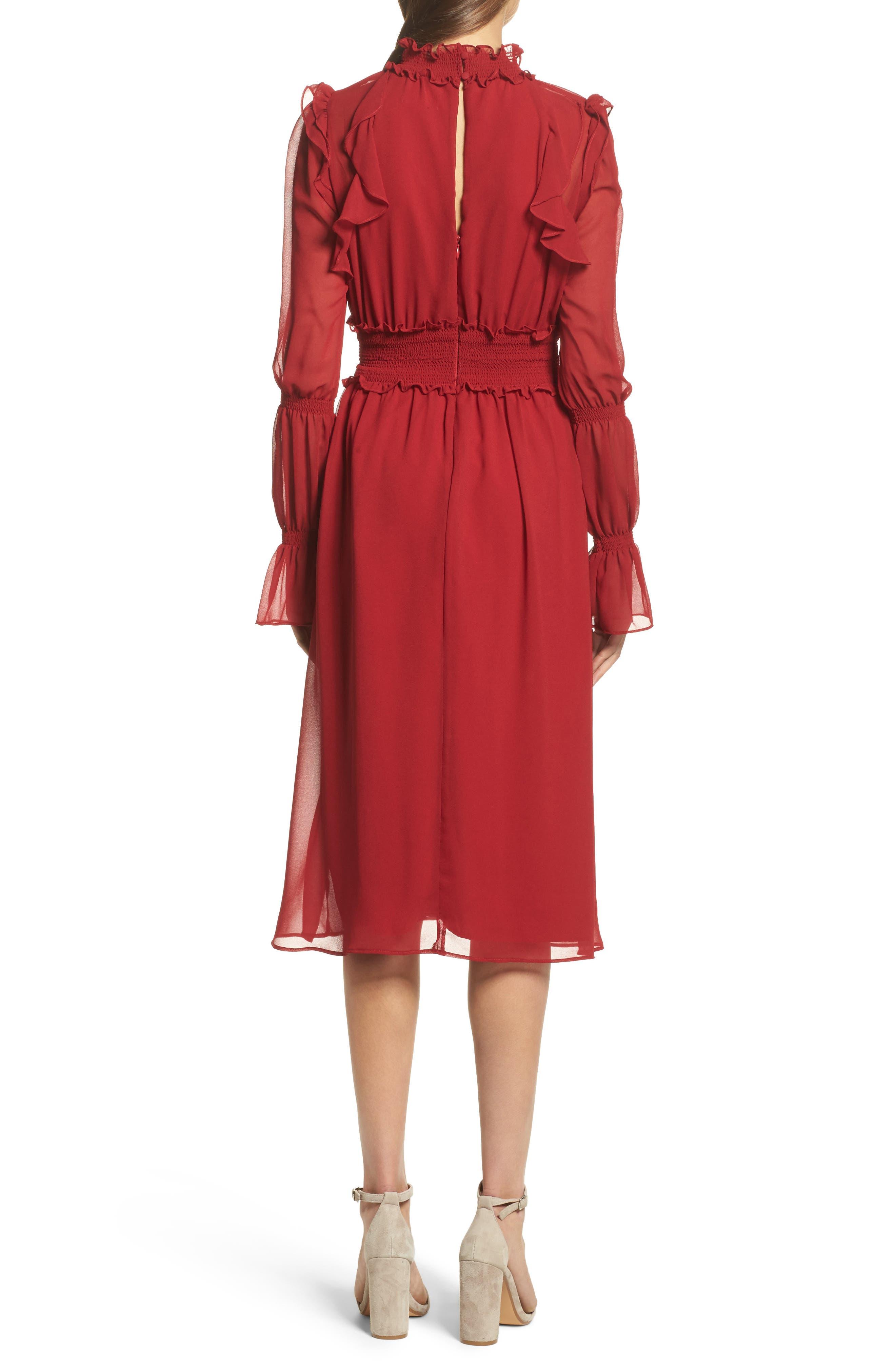 Ruffle Midi Dress,                             Alternate thumbnail 2, color,                             Red Jester
