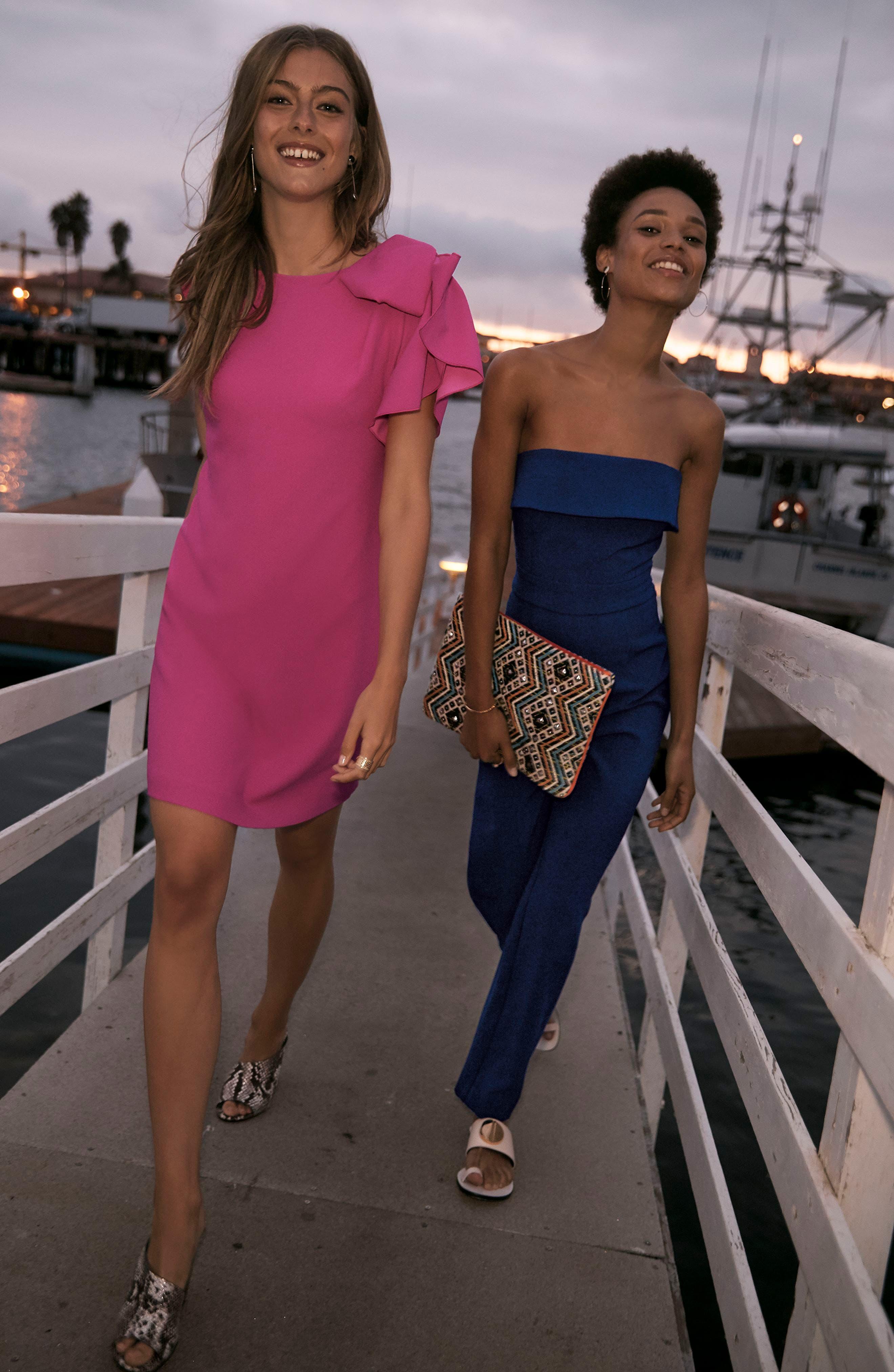 Ruffle Sleeve Shift Dress,                             Alternate thumbnail 2, color,                             Pink