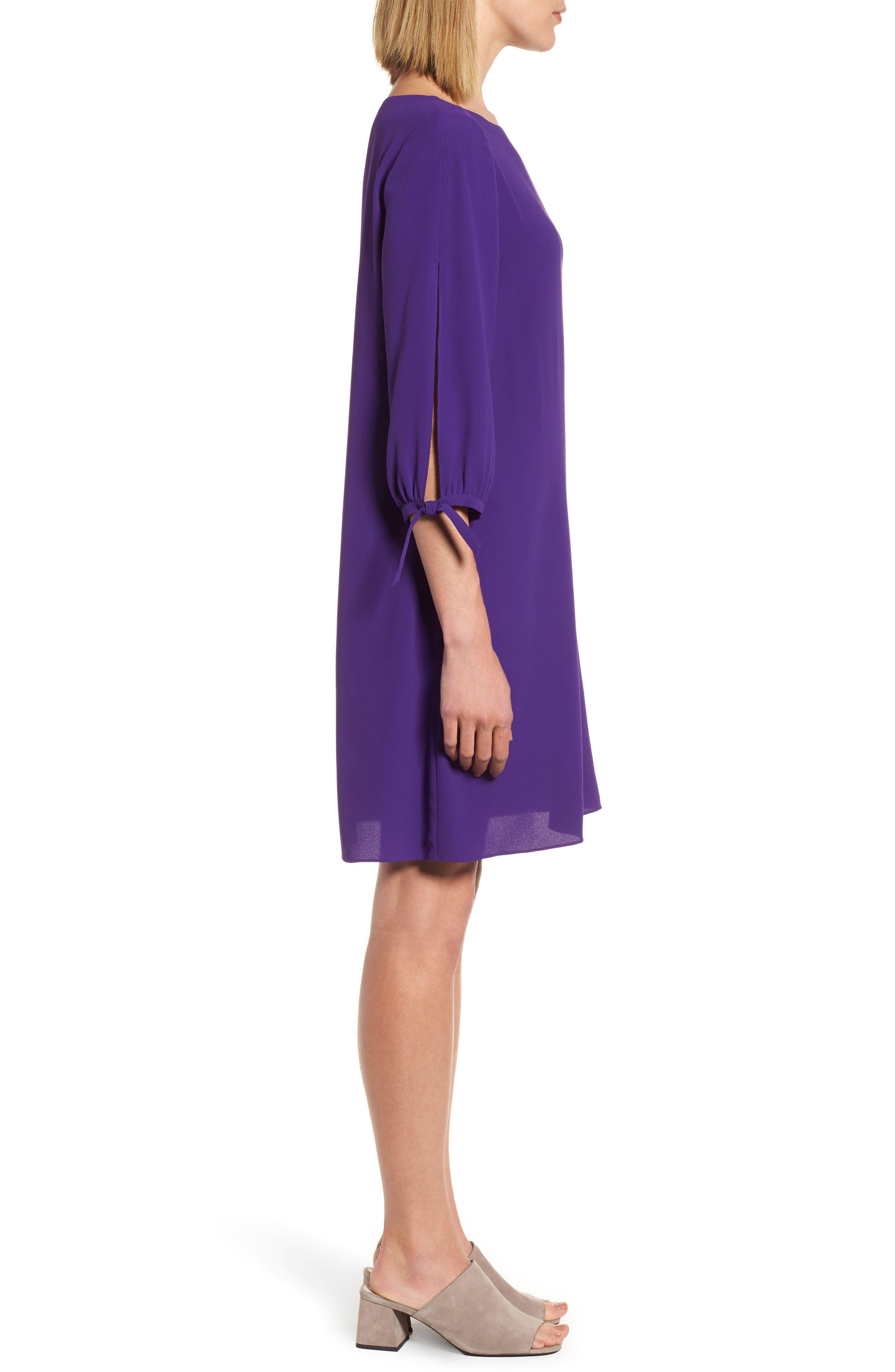 Silk Shift Dress,                             Alternate thumbnail 3, color,                             Ultraviolet