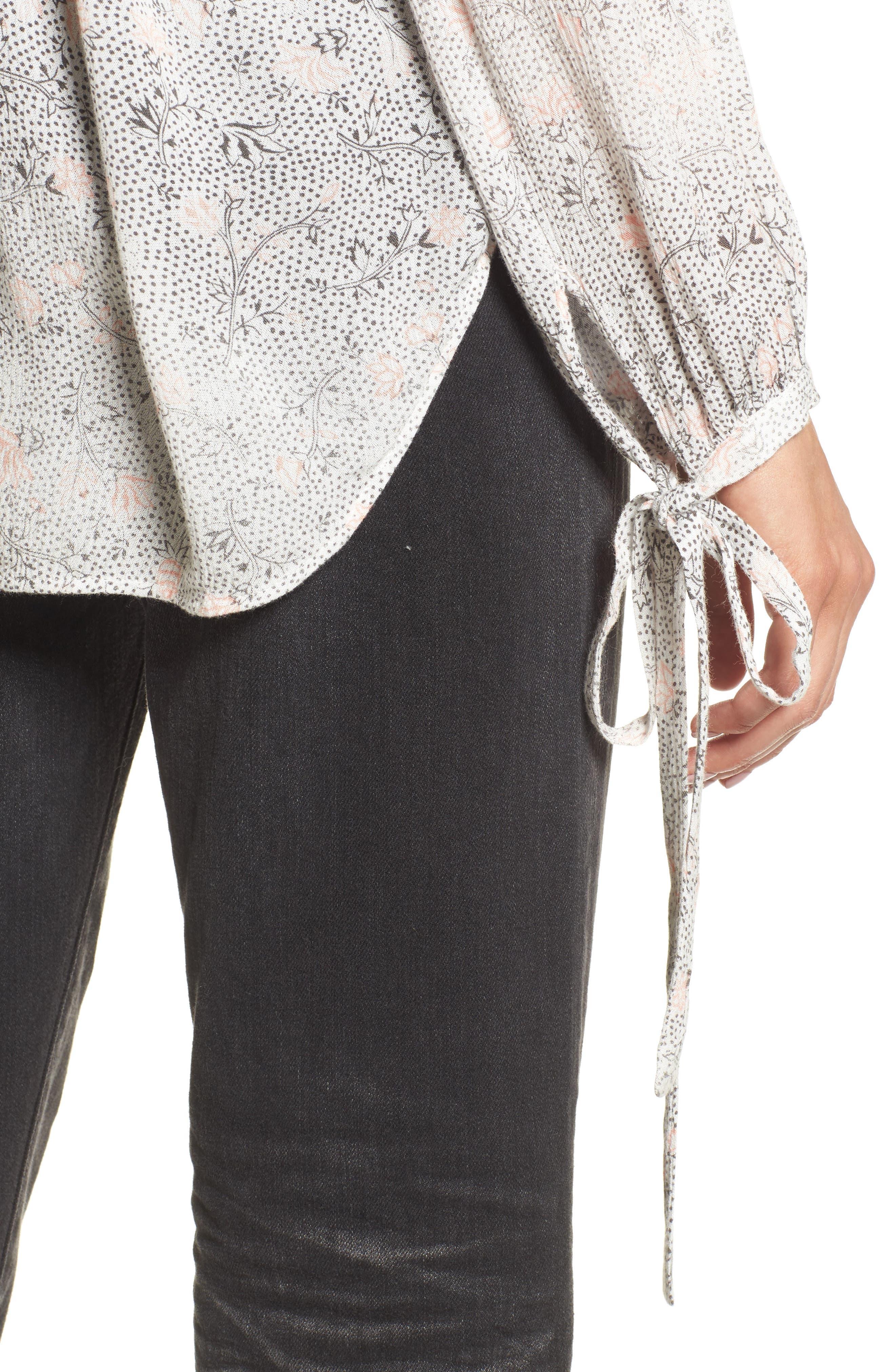 Karina Tie Cuff Top,                             Alternate thumbnail 4, color,                             True White/ Firebrick