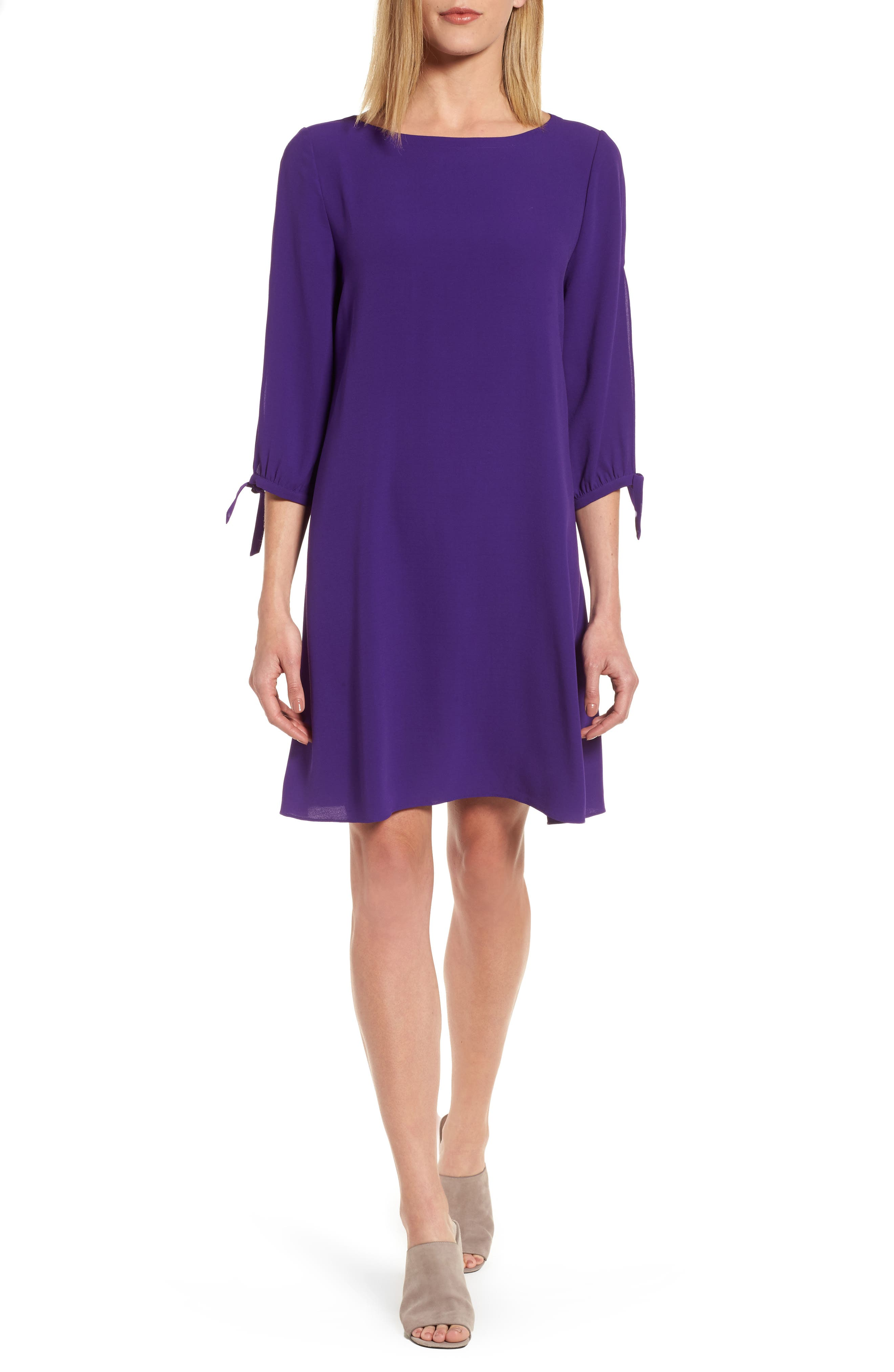 Silk Shift Dress,                         Main,                         color, Ultraviolet