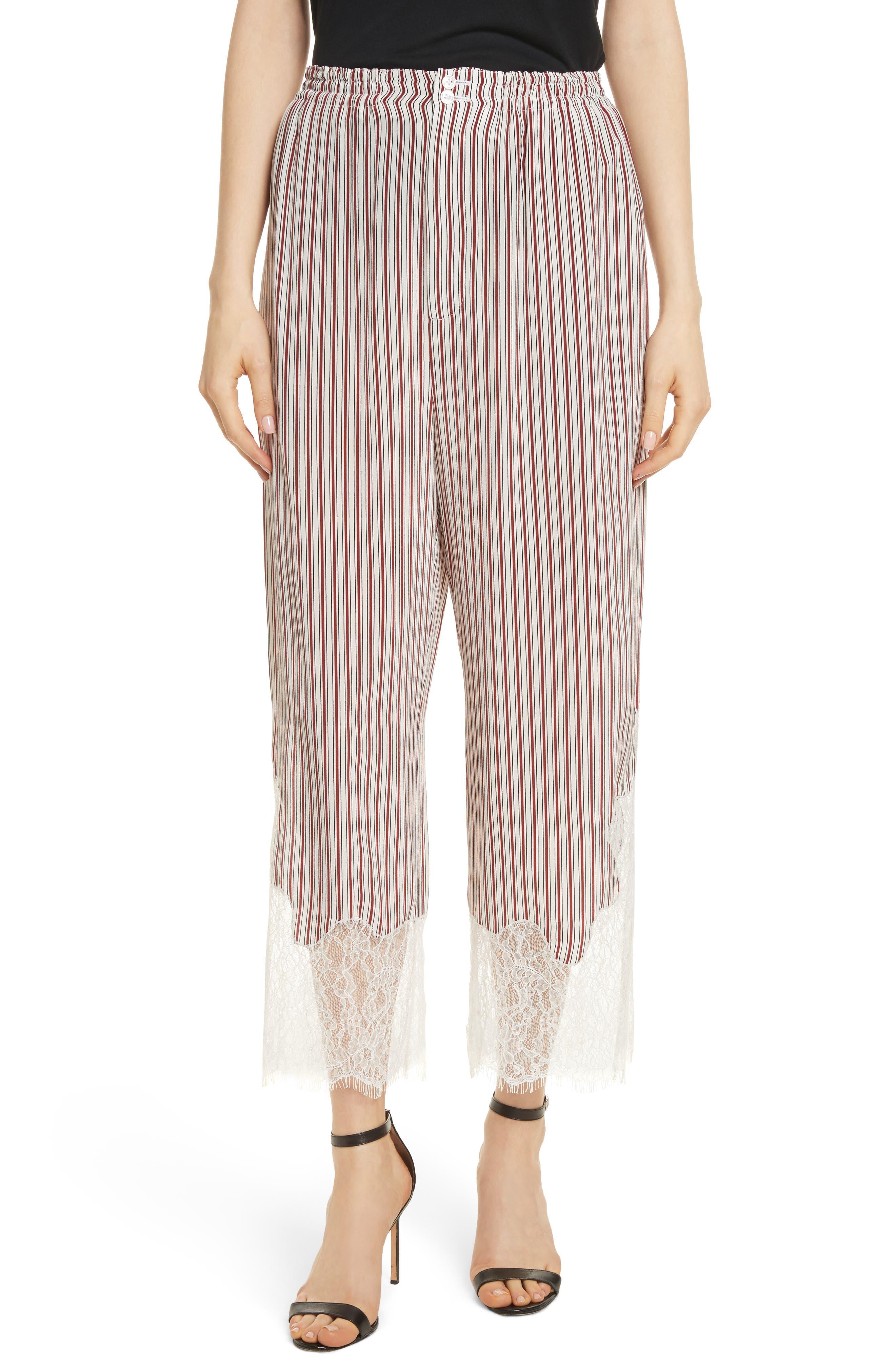 Lace Hem Stripe Pants,                         Main,                         color, Crimson Barcode