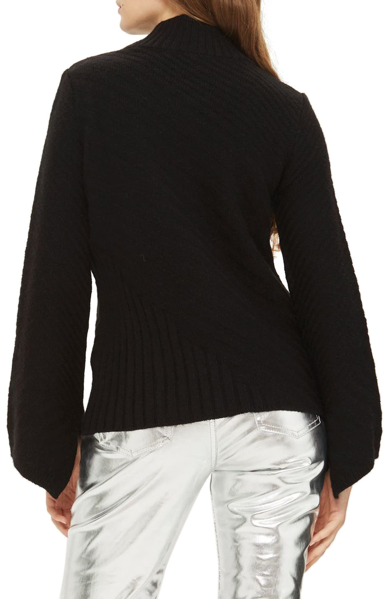 Asymmetrical Ribbed Funnel Neck Sweater,                             Alternate thumbnail 2, color,                             Black