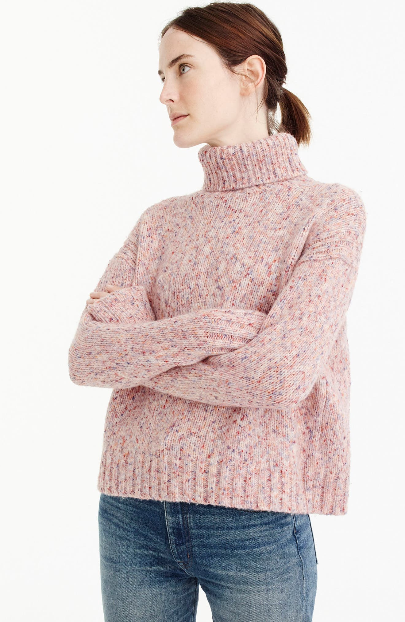 J.Crew Marled Wool Blend Turtleneck Sweater,                             Alternate thumbnail 3, color,                             Marled Confetti