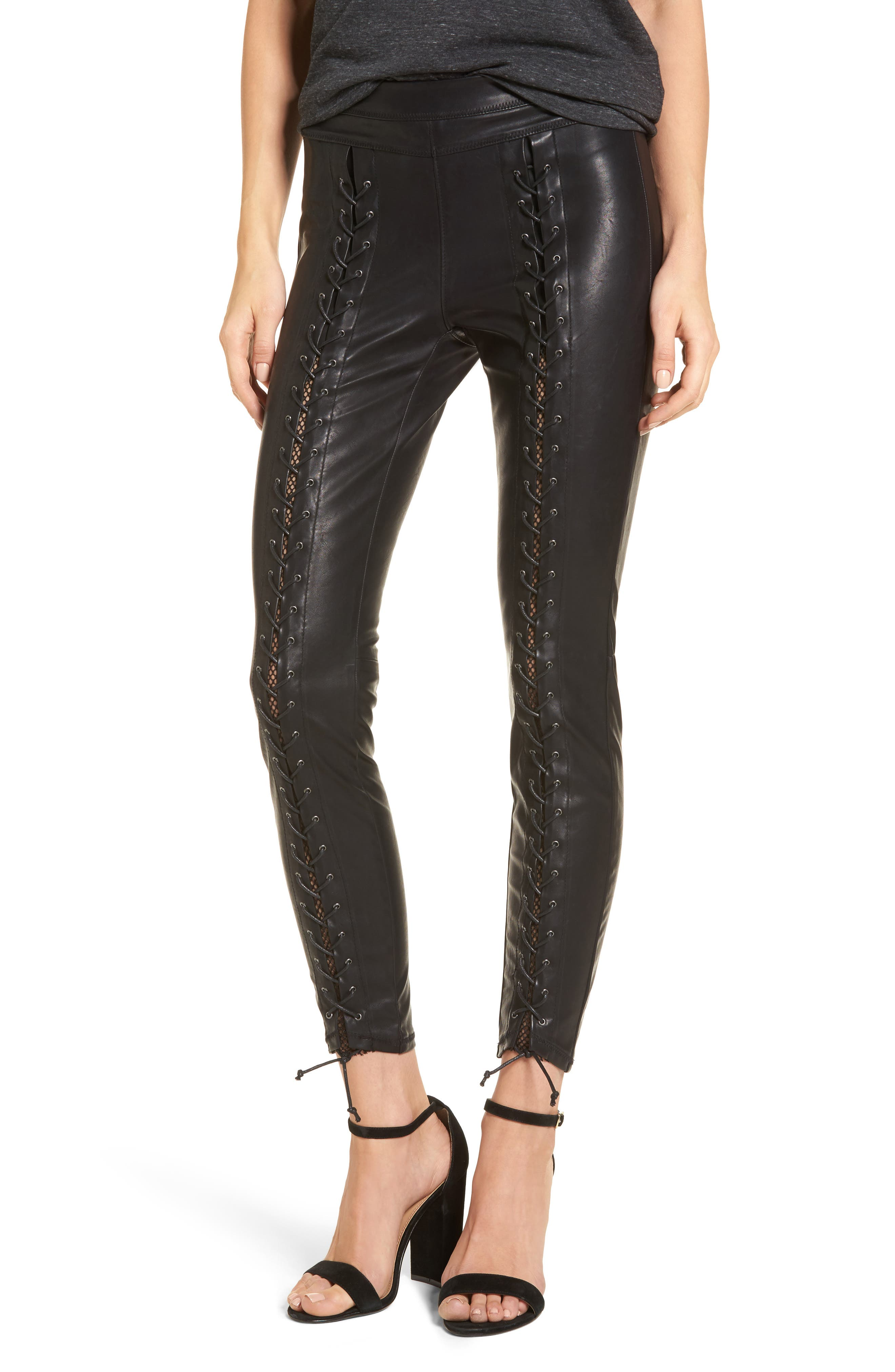 Lace-Up Faux Leather Pants,                             Main thumbnail 1, color,                             Easy Street